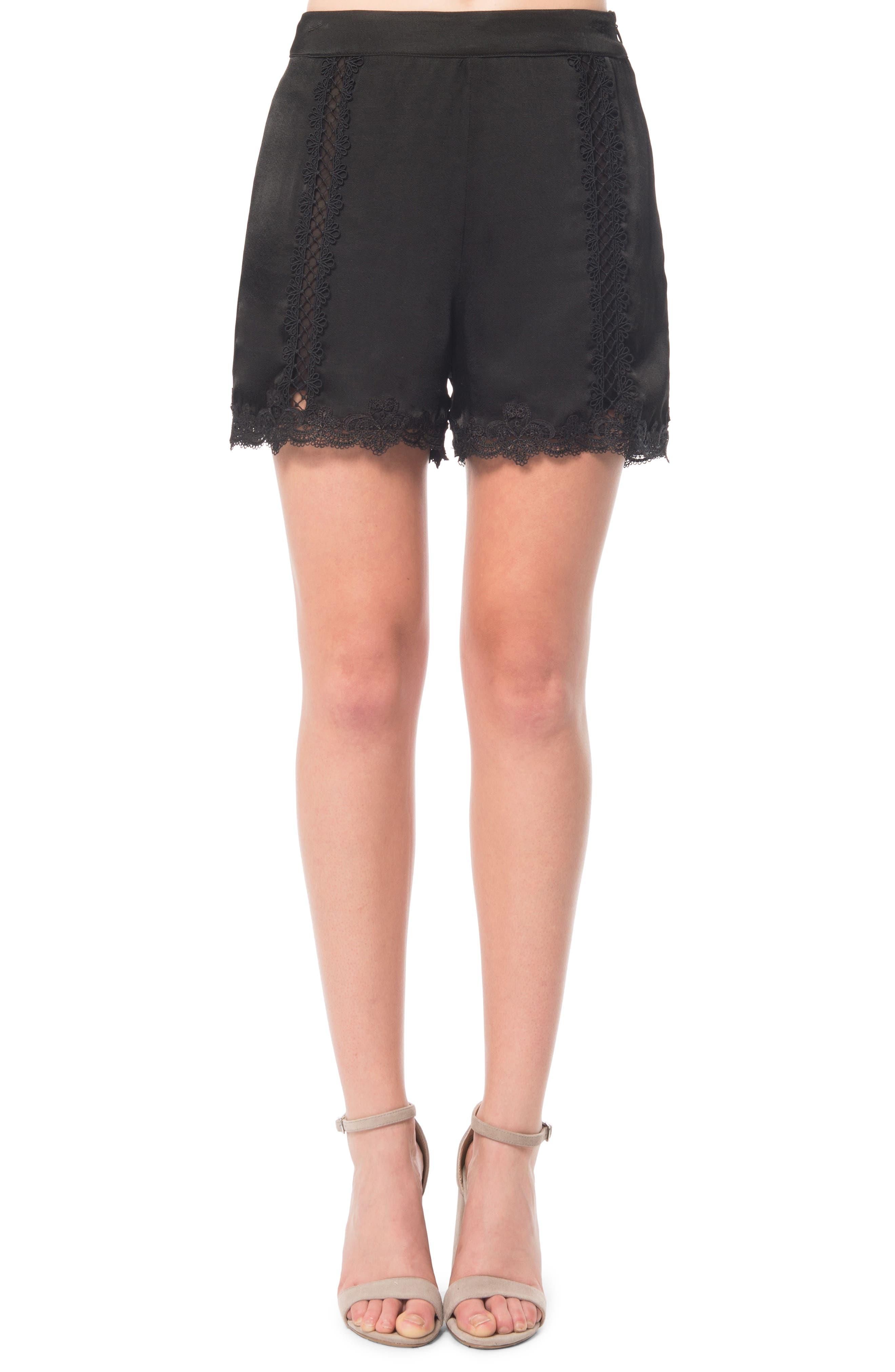 Lace Inset Shorts,                             Main thumbnail 1, color,                             001