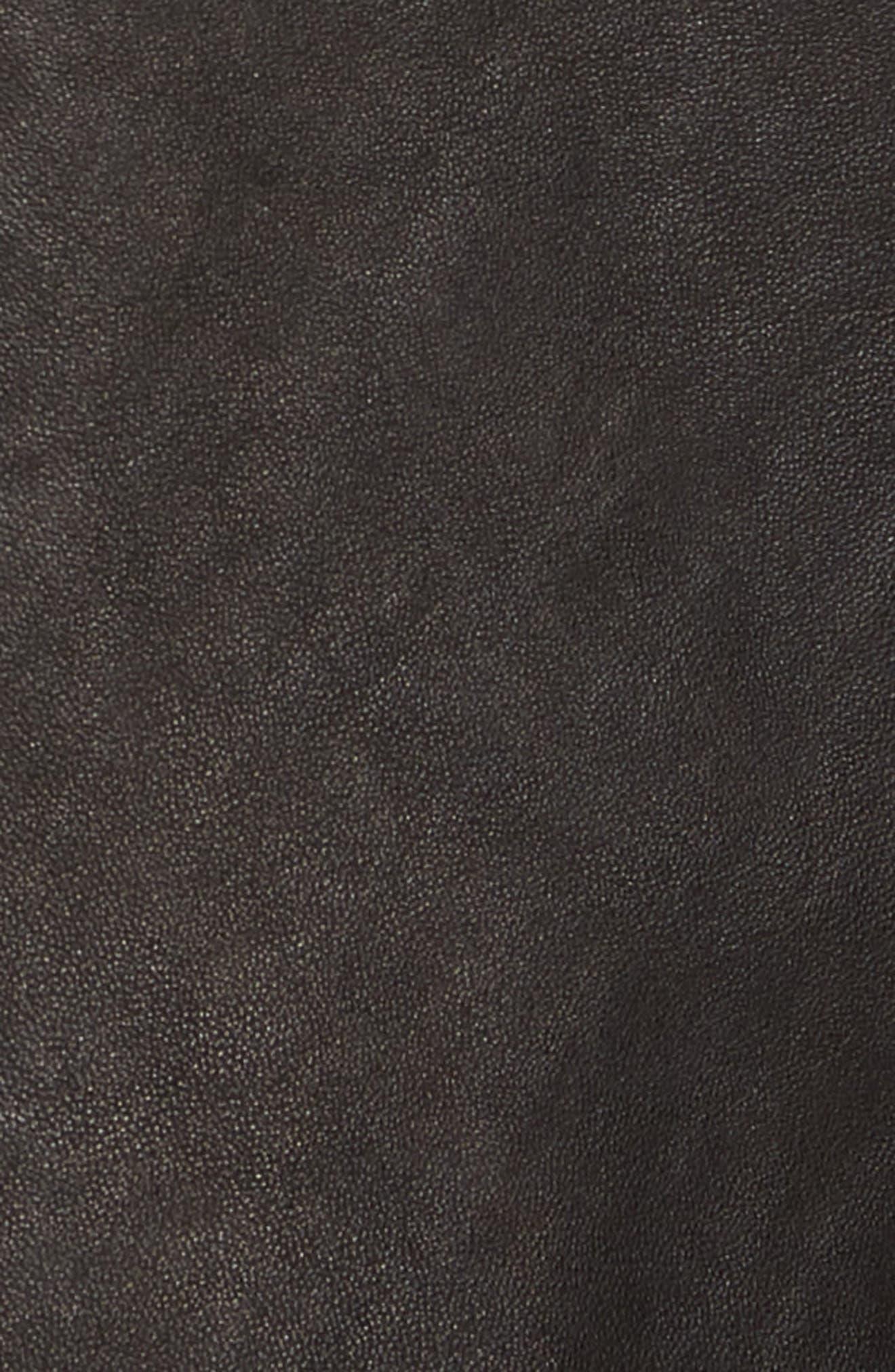 Oiled Lambskin Leather Shirt Jacket,                             Alternate thumbnail 6, color,                             001