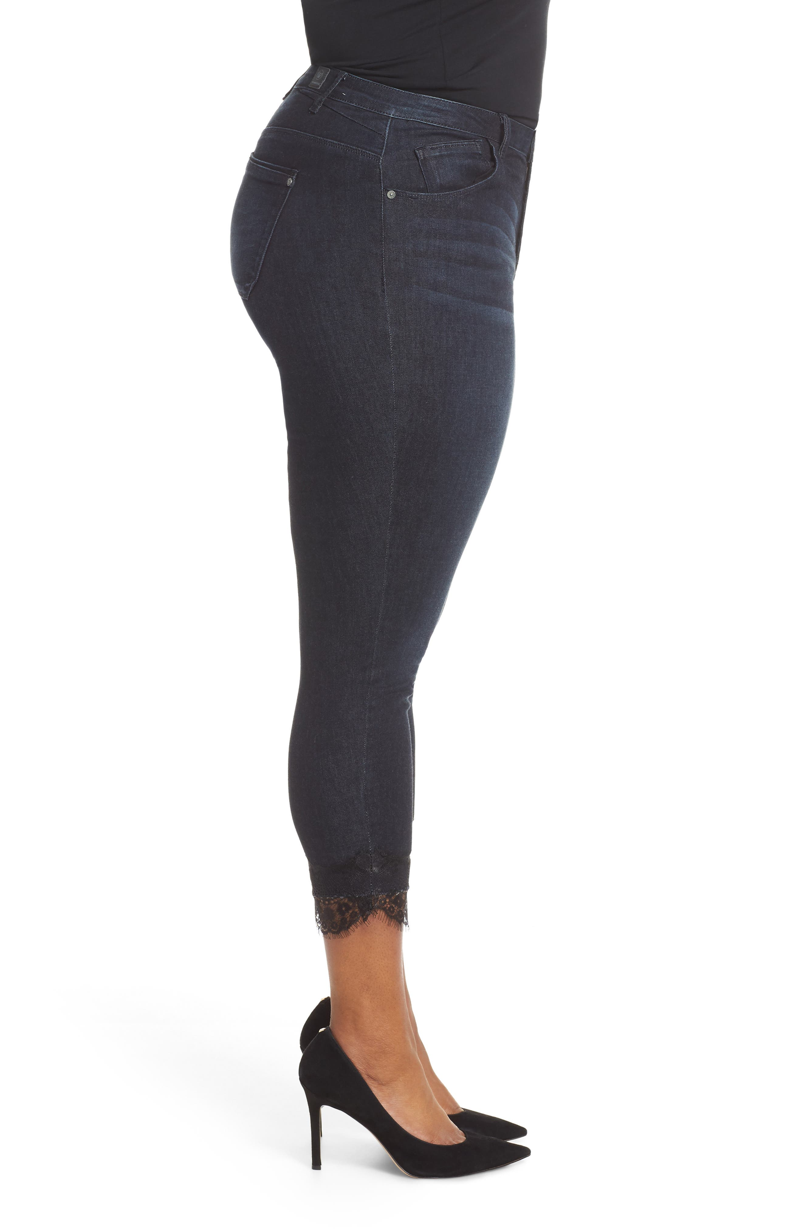 High Waist Lace Trim Ankle Skinny Jeans,                             Alternate thumbnail 3, color,                             INDIGO