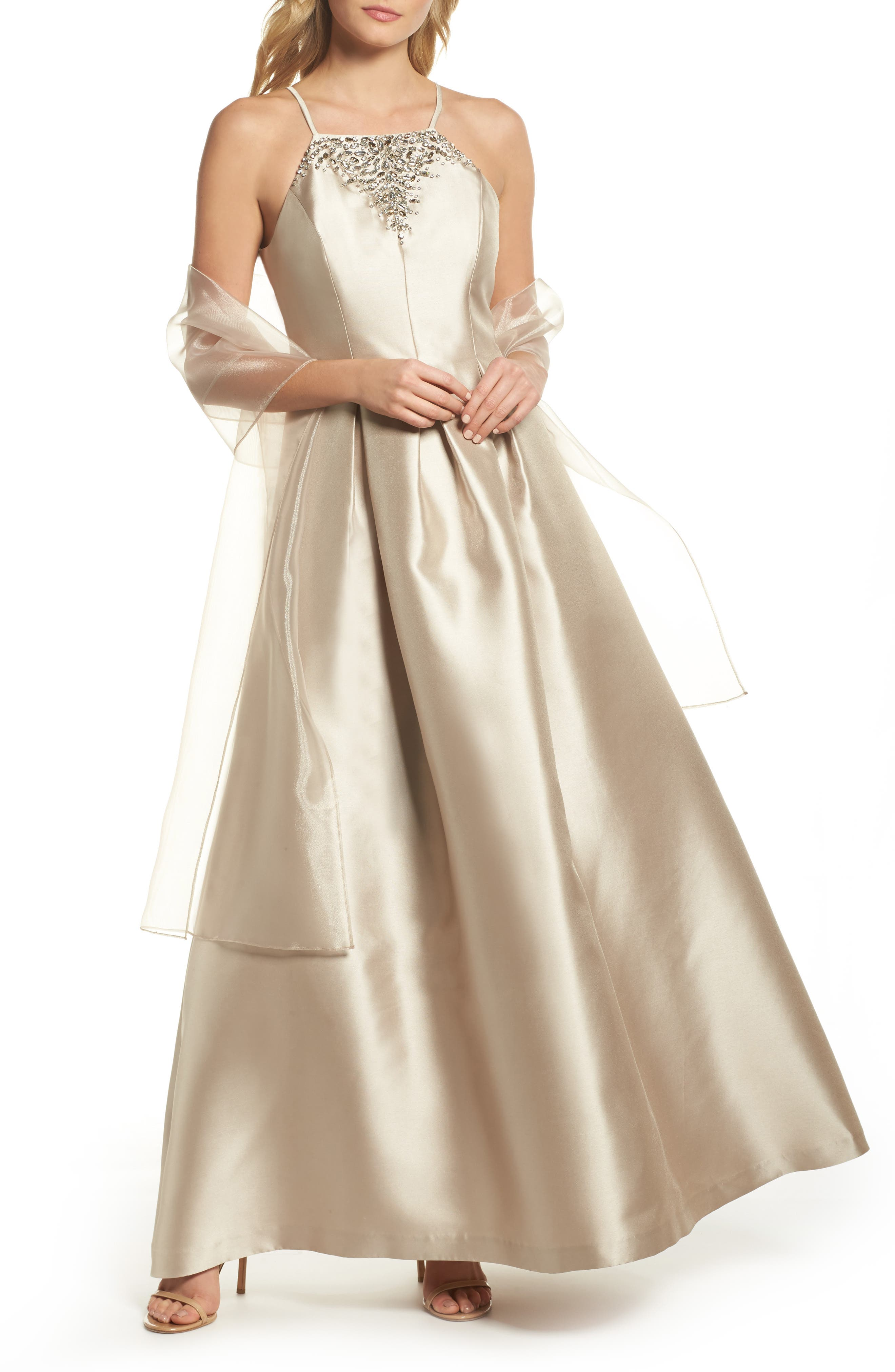 Beaded Neck Mikado Ballgown with Shawl,                         Main,                         color,