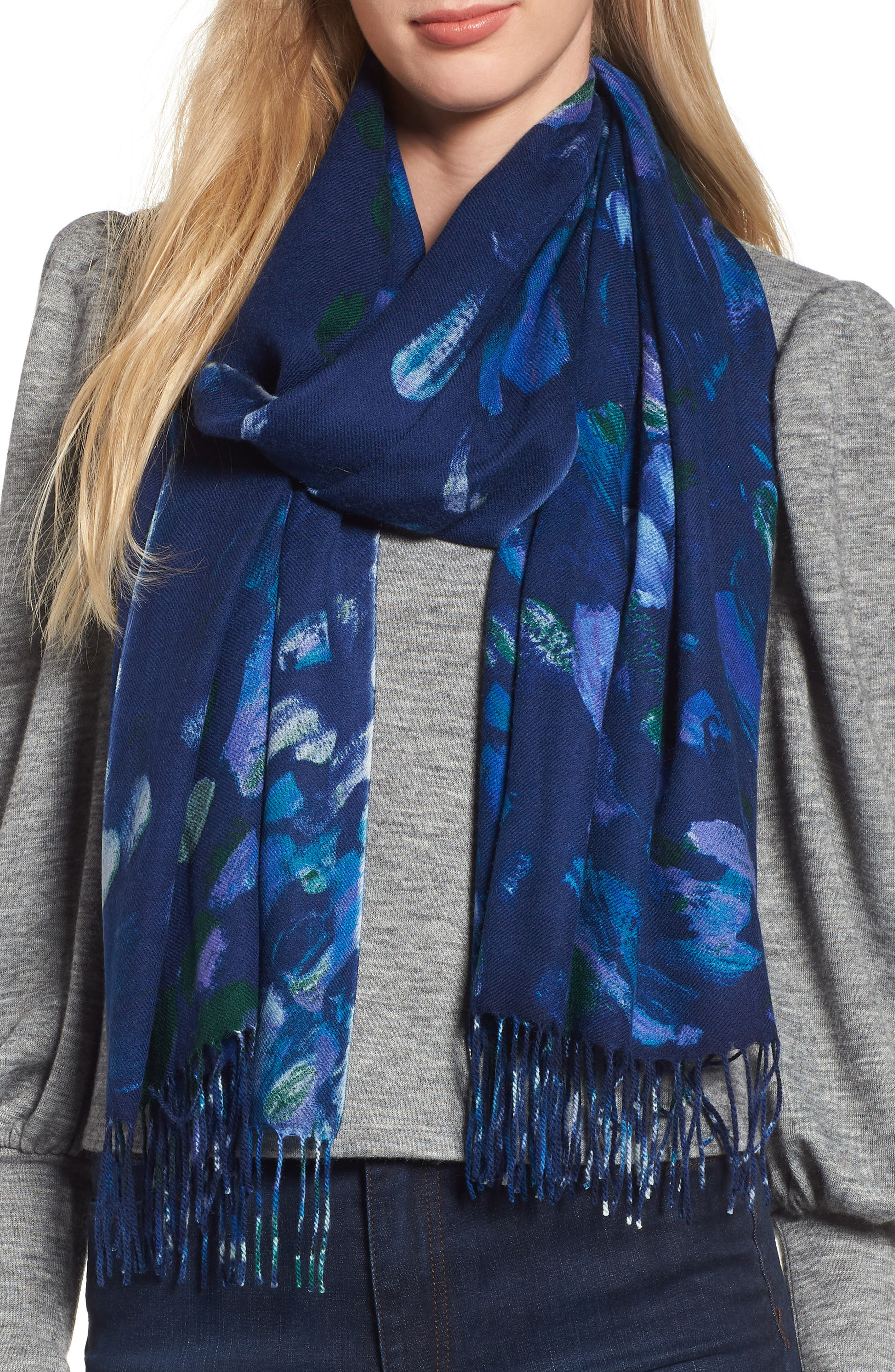 Tissue Print Wool & Cashmere Wrap Scarf,                             Main thumbnail 10, color,