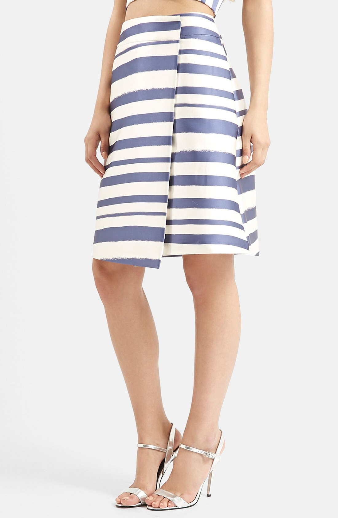 TOPSHOP,                             Stripe Midi Skirt,                             Main thumbnail 1, color,                             410