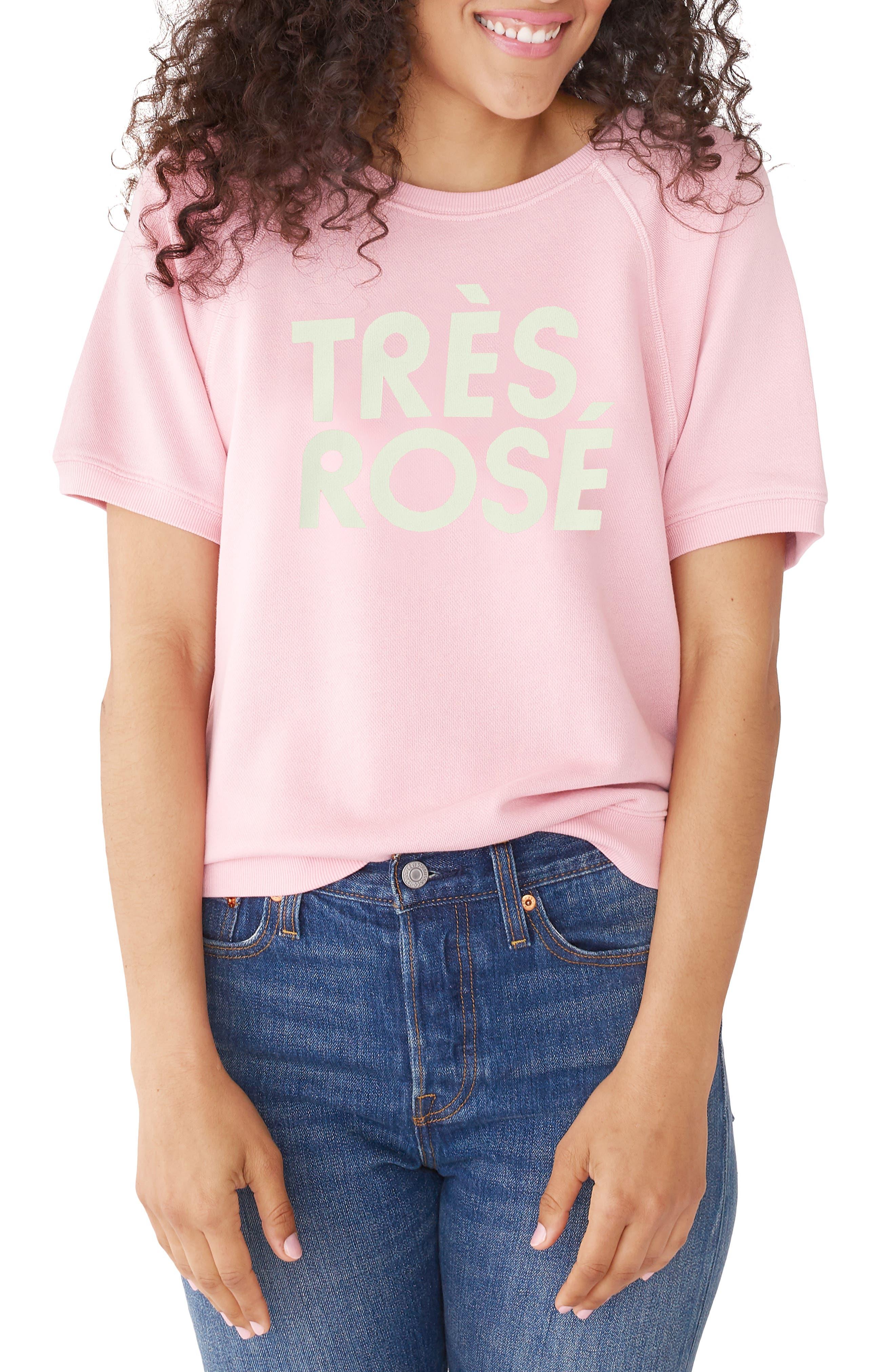 BAN.DO Ban. Do Tres Rose Short Sleeve Sweatshirt in Pink
