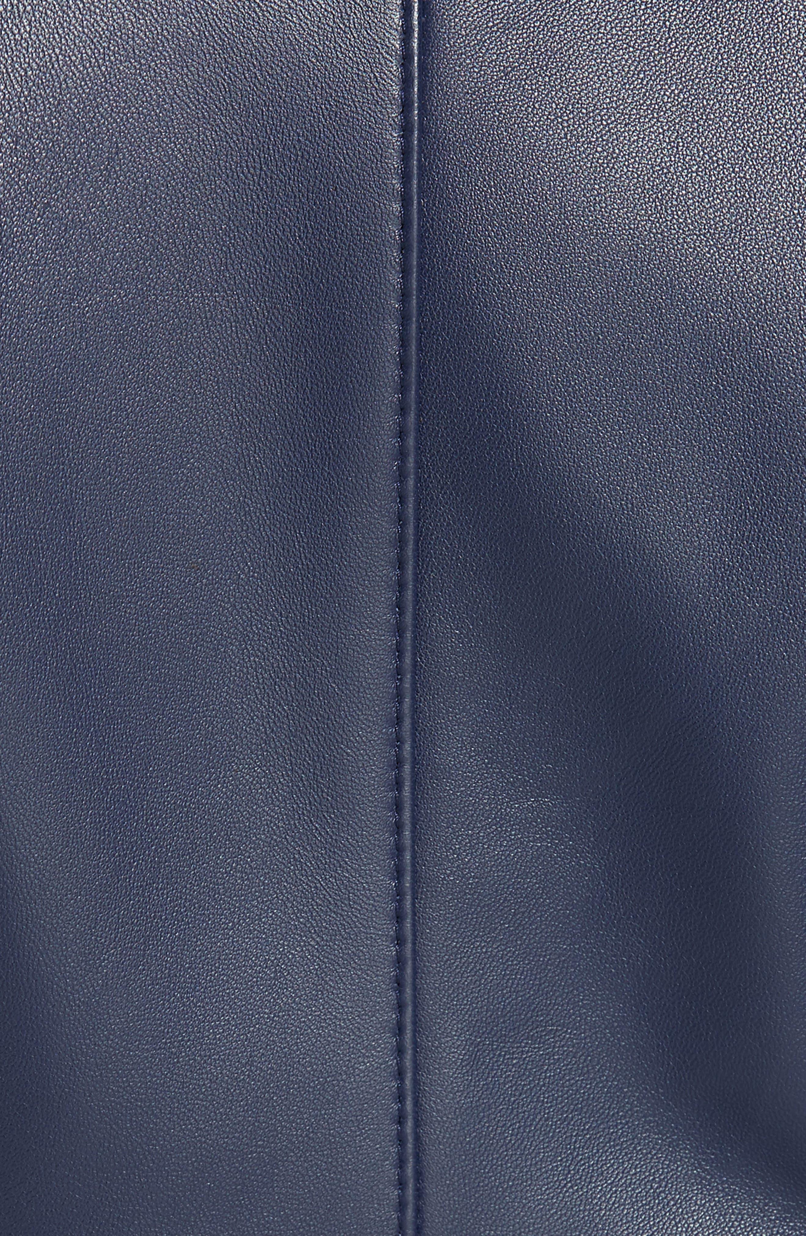 Sadeno Leather Moto Jacket,                             Alternate thumbnail 6, color,                             INK BLUE