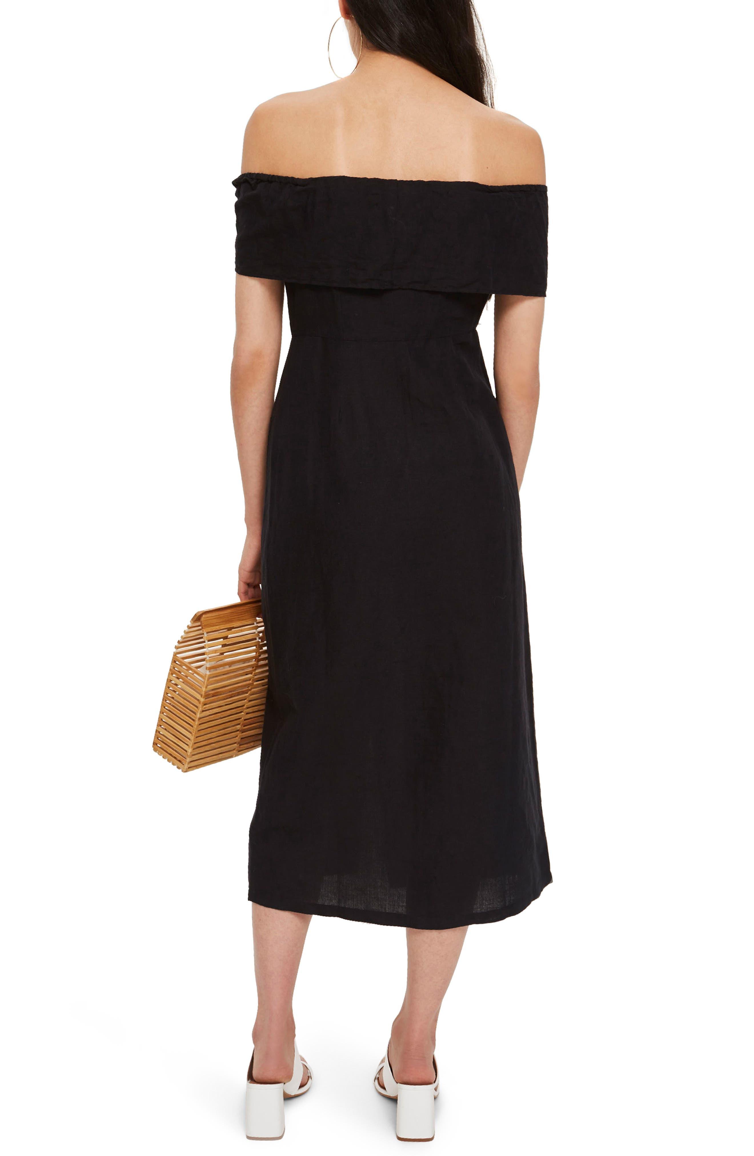 Linen Off the Shoulder Midi Dress,                             Alternate thumbnail 2, color,                             001