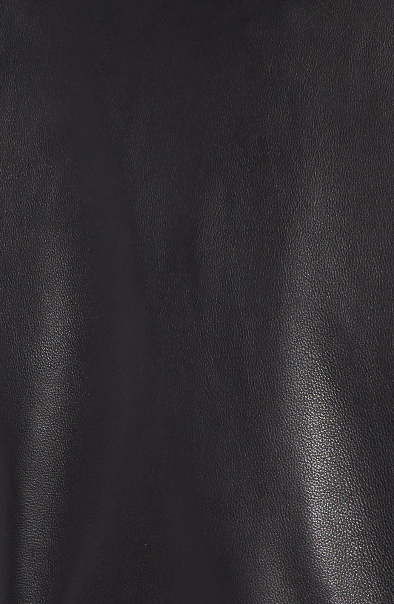 Collarless Leather Moto Jacket,                             Alternate thumbnail 6, color,                             001