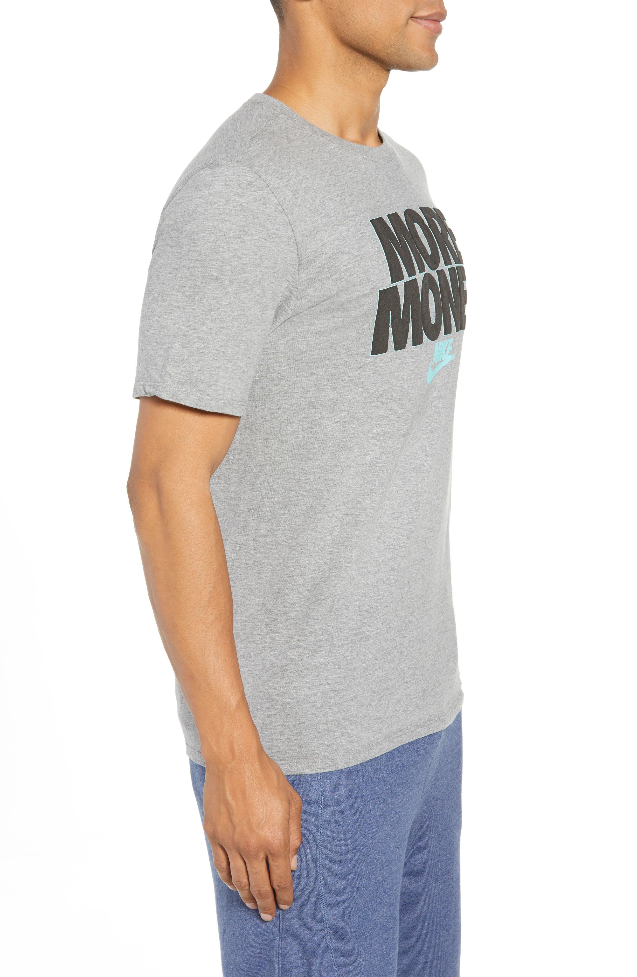Sportswear More Money T-Shirt,                             Alternate thumbnail 3, color,                             DK GREY HEATHER/ BLACK