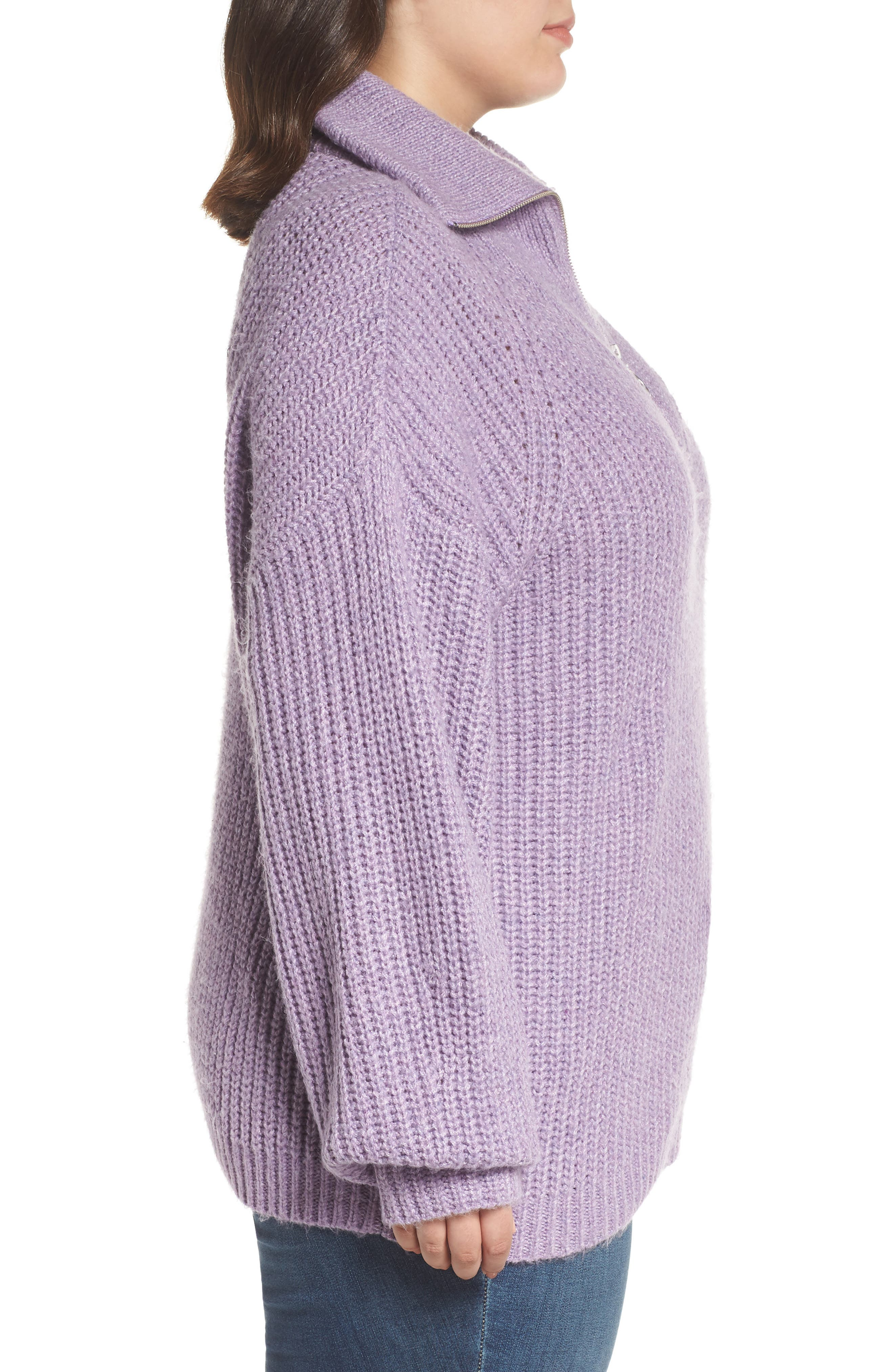 BP.,                             Quarter Zip Sweater,                             Alternate thumbnail 3, color,                             PURPLE WAVE