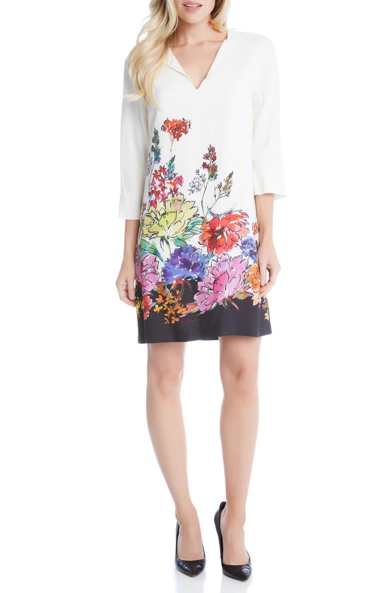 Karen Kane Floral Border Print Shift Dress  37bf4749d