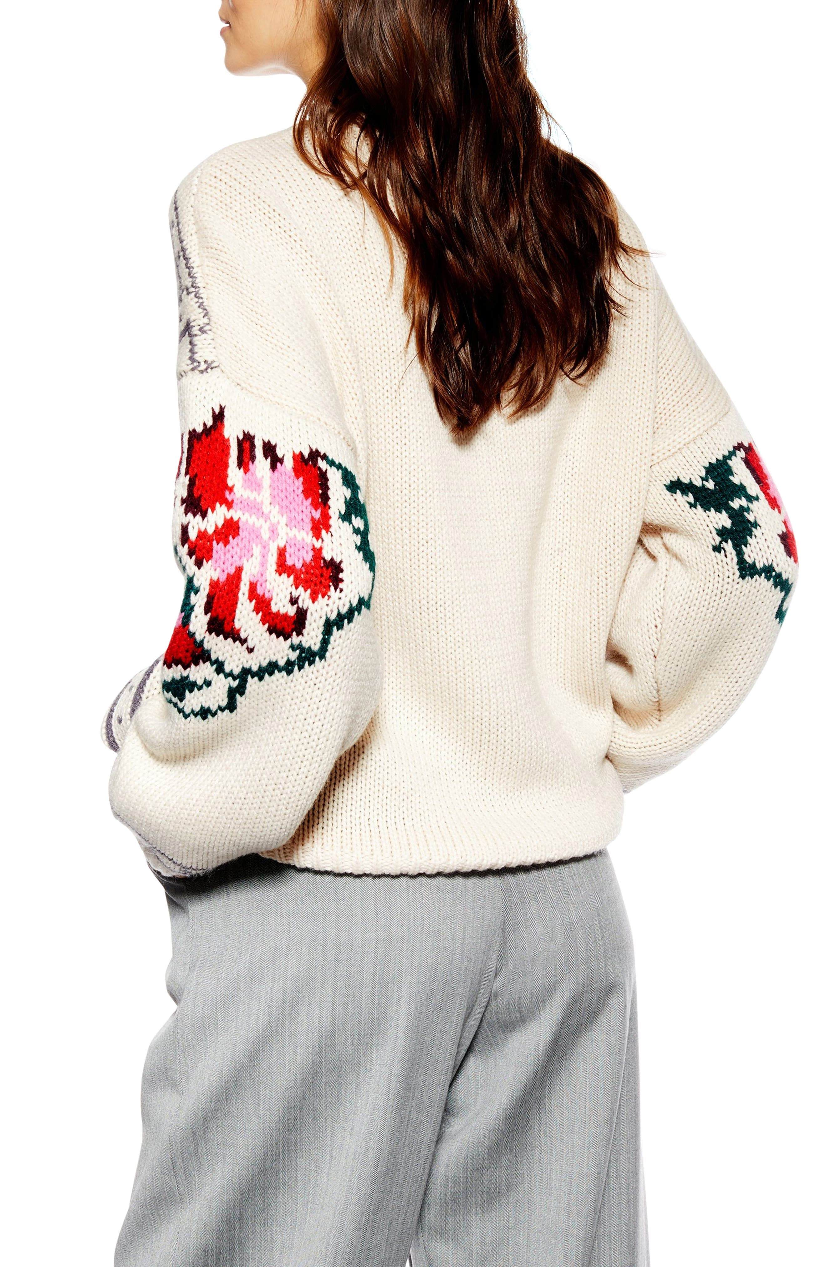 Floral Border Embroidered Sweater,                             Alternate thumbnail 2, color,                             IVORY MULTI