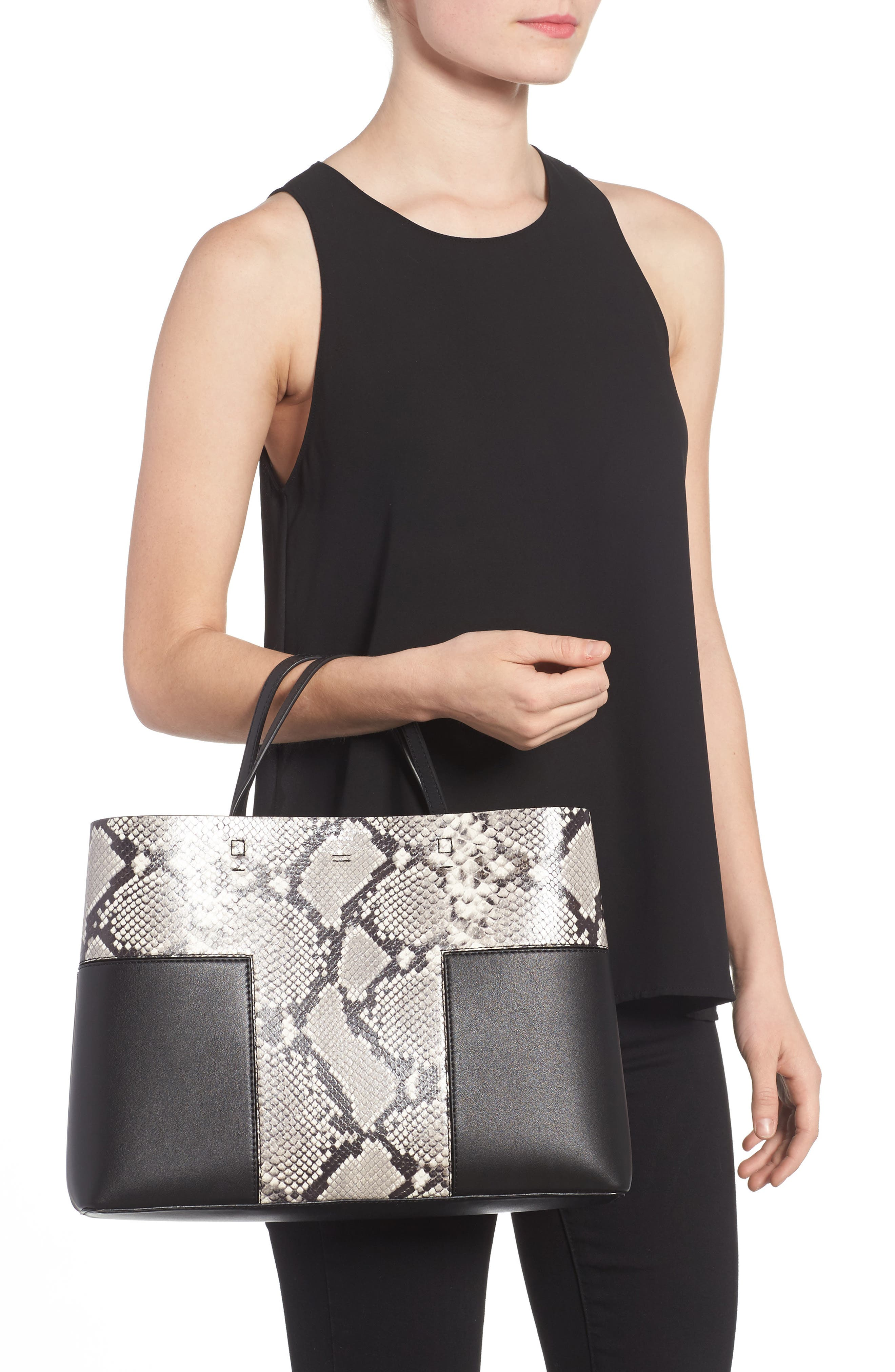 Block-T Snake Embossed Leather Tote,                             Alternate thumbnail 2, color,                             001