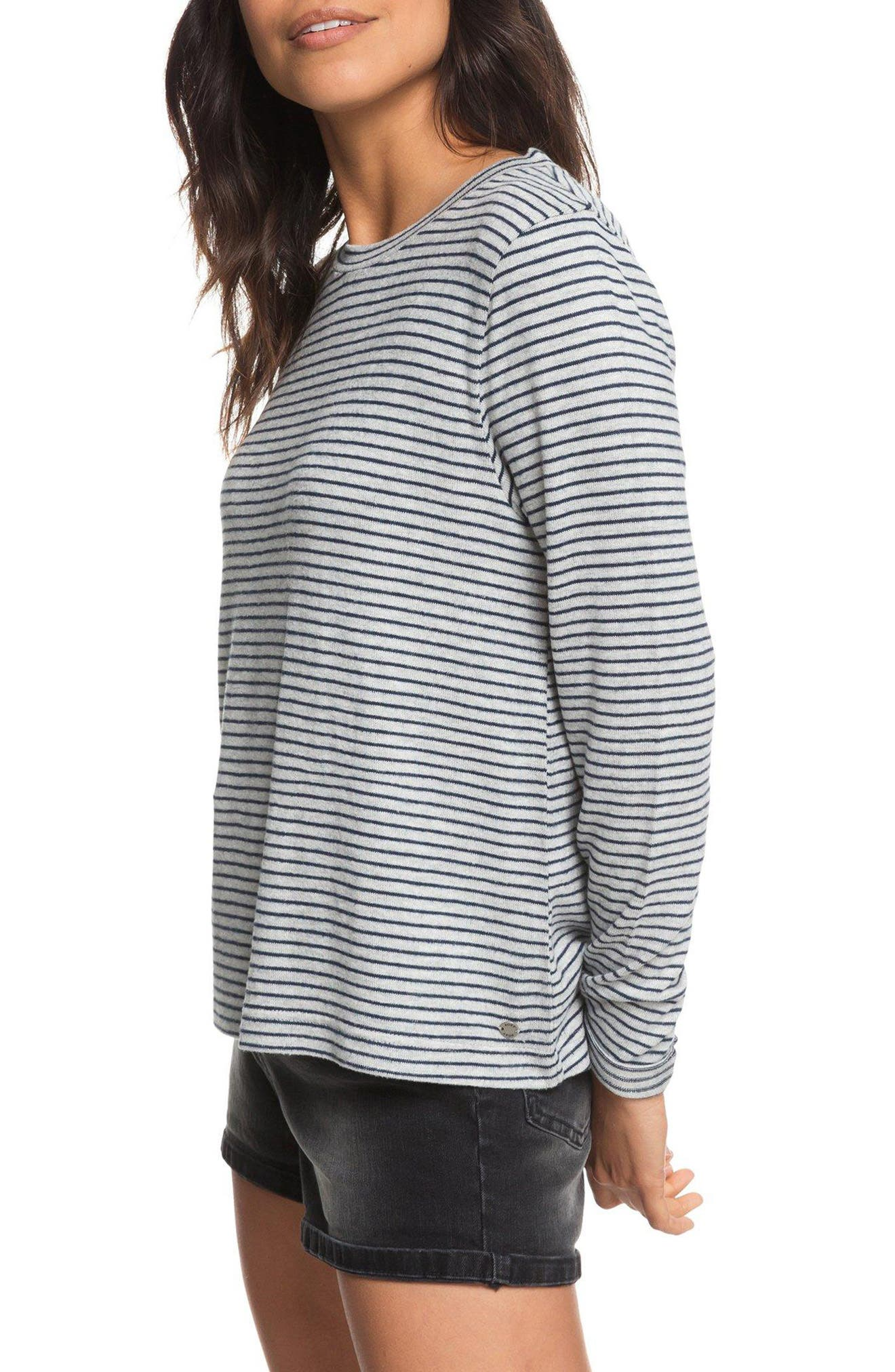 Chasing You Stripe Knit Top,                             Alternate thumbnail 3, color,                             HERITAGE HEATHER THIN STRIPES