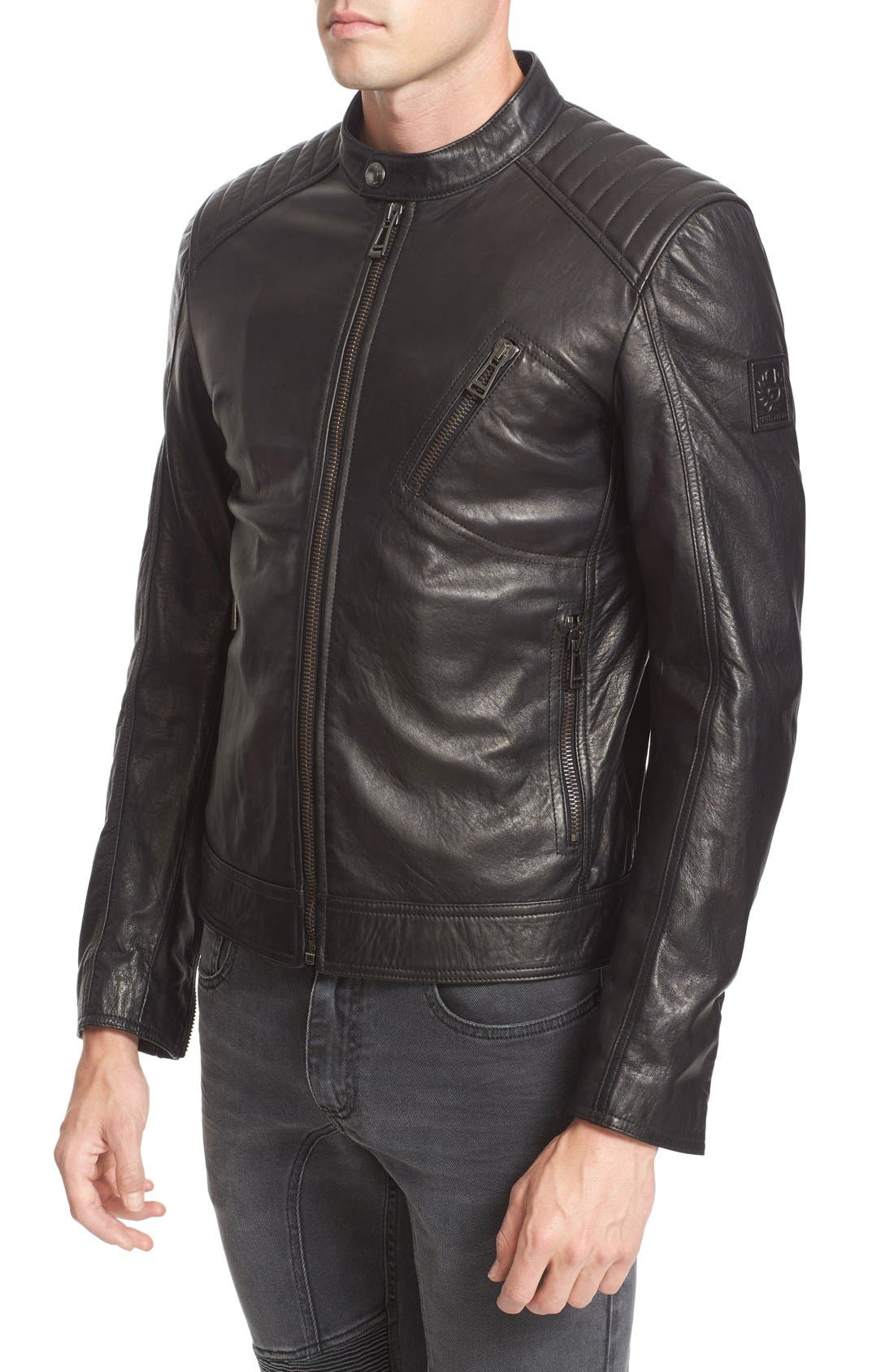 V Racer Leather Jacket,                             Alternate thumbnail 6, color,                             BLACK