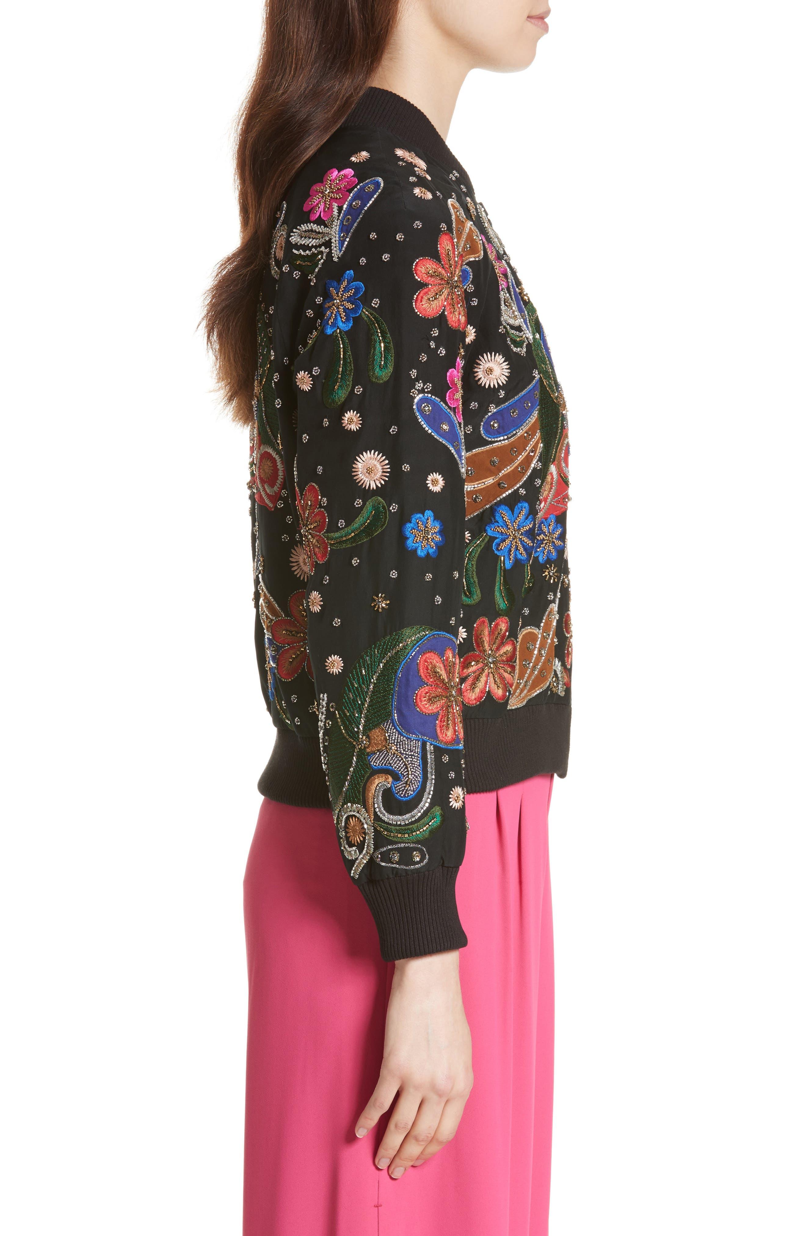 Felisa Embellished Silk Bomber Jacket,                             Alternate thumbnail 3, color,                             019