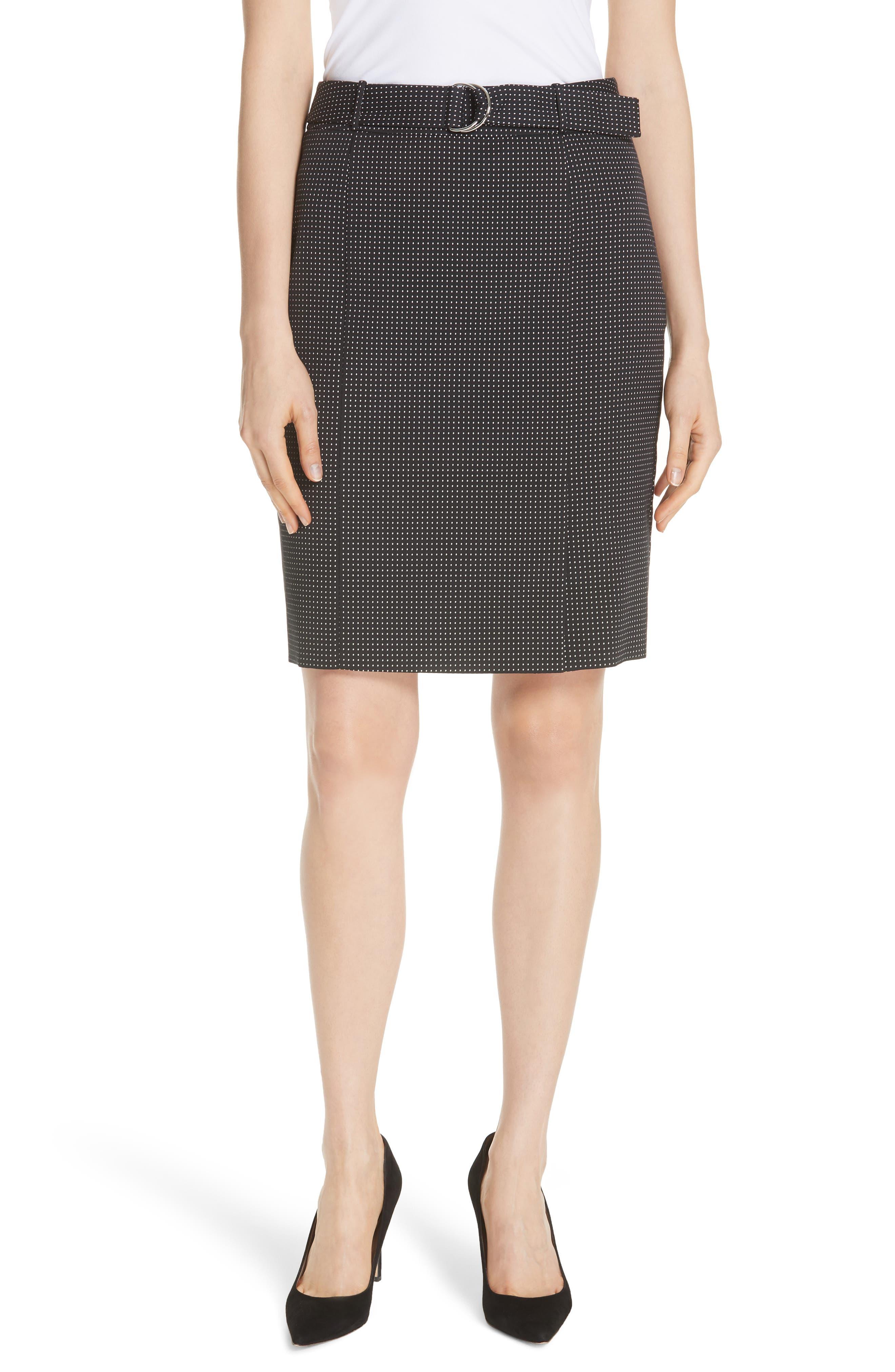 Vumano Dot Dessin Stretch Suit Skirt,                             Main thumbnail 1, color,                             BLACK FANTASY