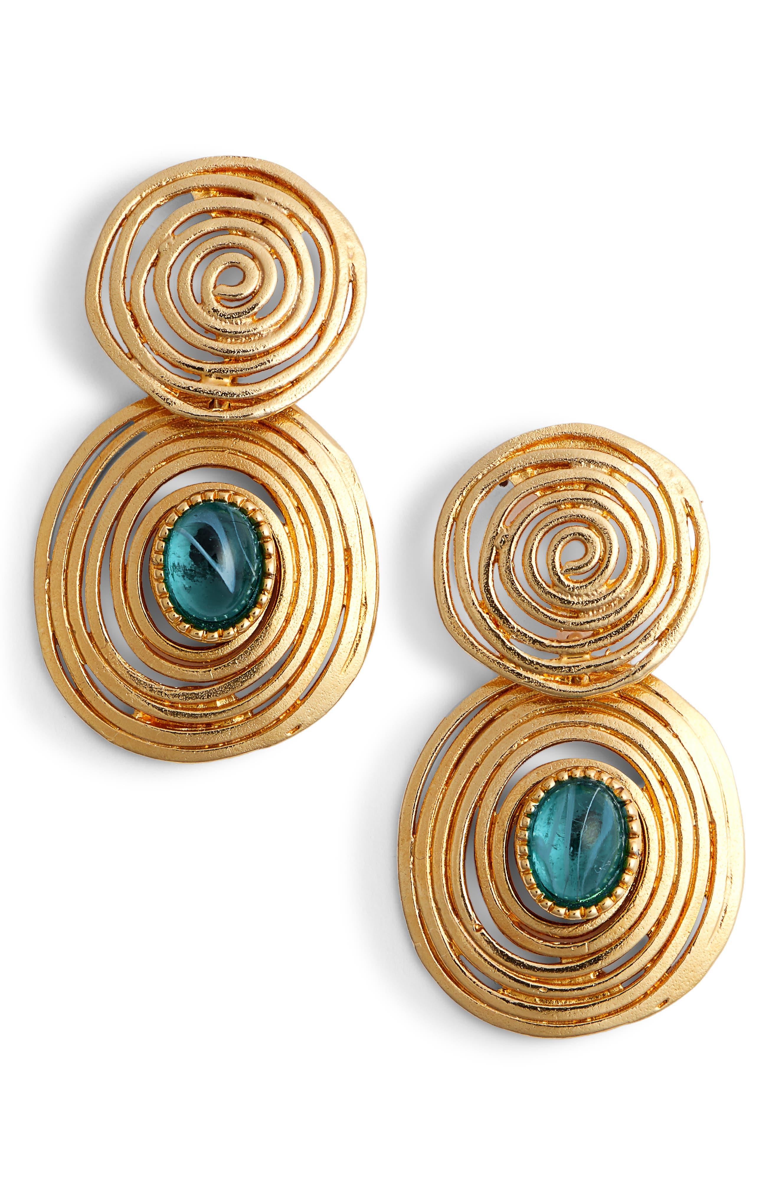 Wave Drop Earrings,                         Main,                         color, BLUE