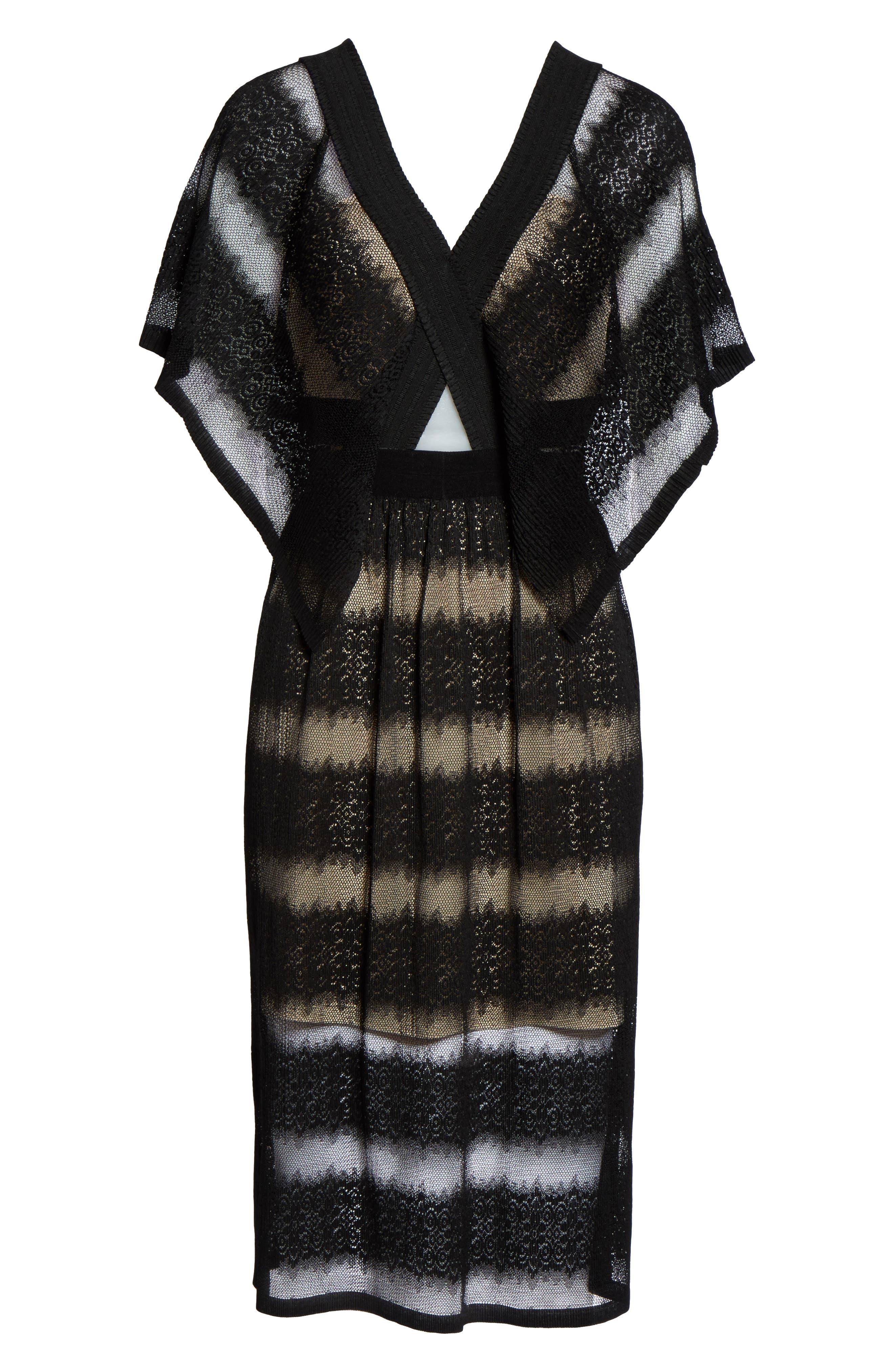 Angelique Deep V-Neck Lace Dress,                             Alternate thumbnail 6, color,                             001