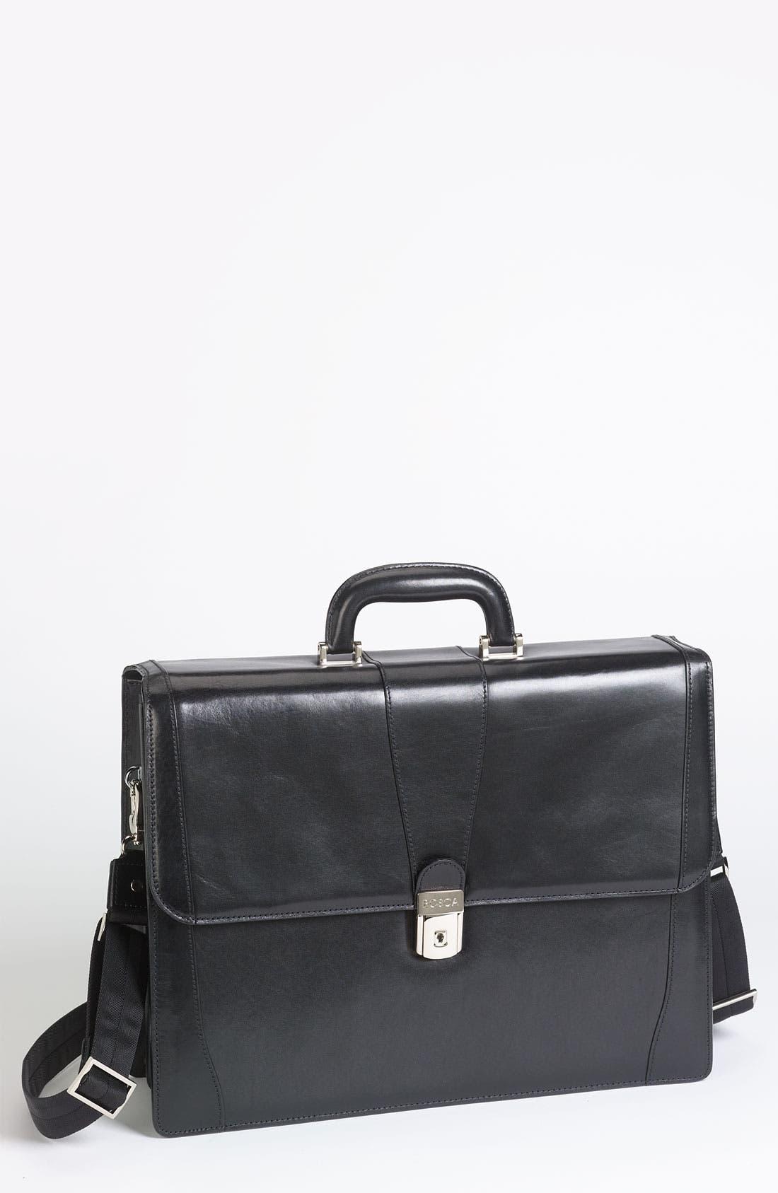 Double Gusset Briefcase,                         Main,                         color, BLACK