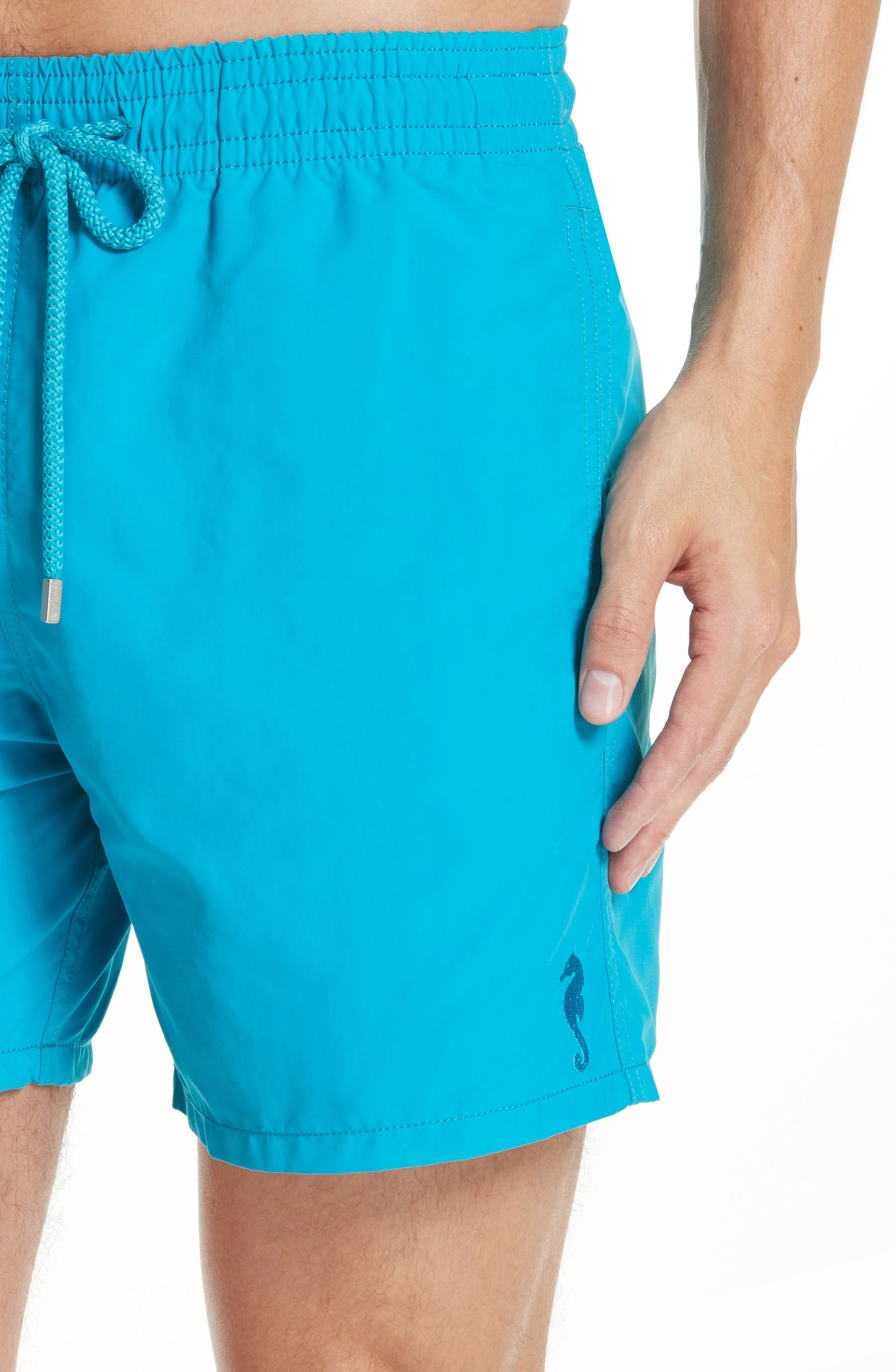 Moorea Double Focus Water-Reactive Swim Trunks,                             Alternate thumbnail 4, color,                             BLUE