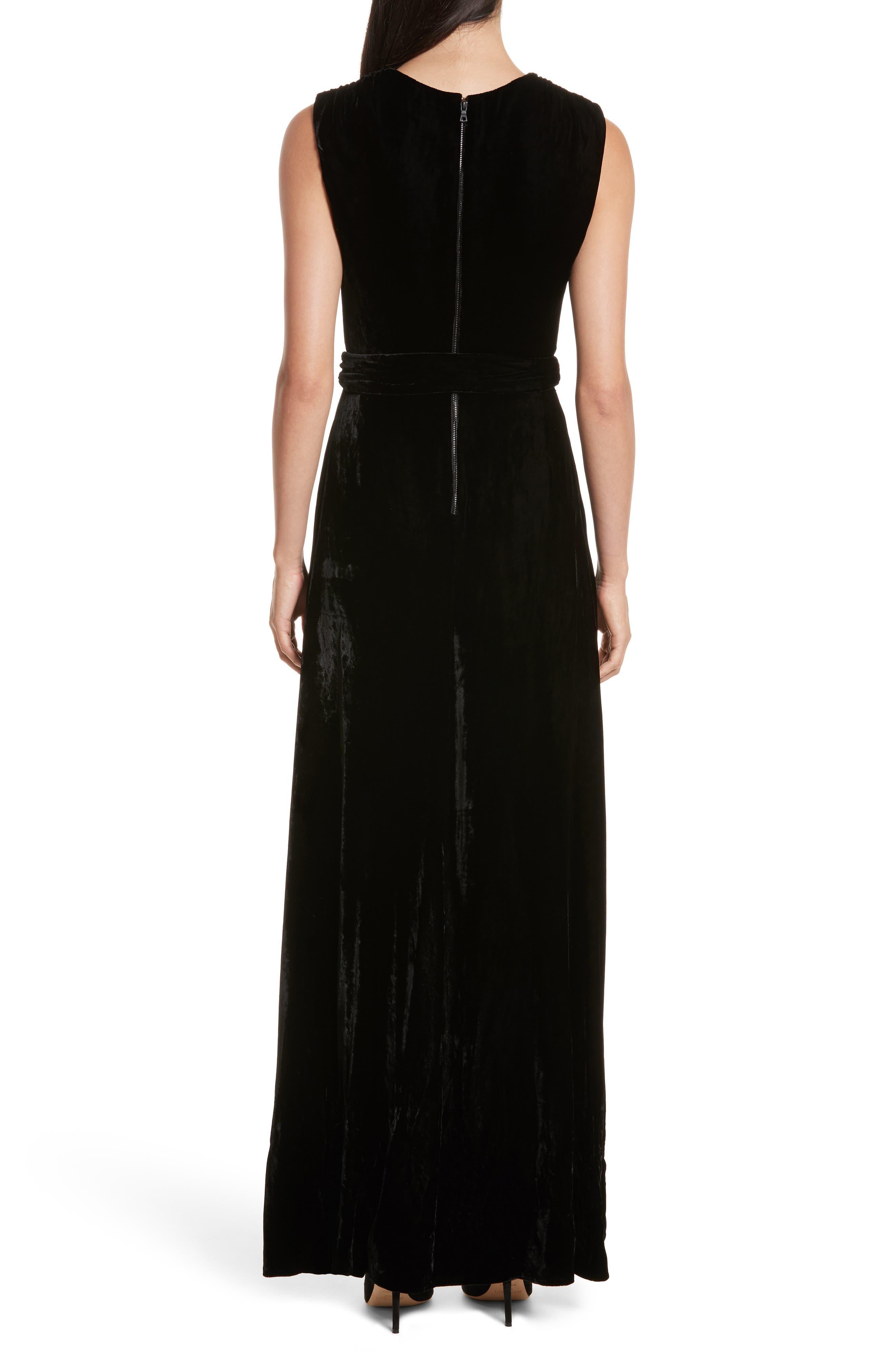 Simmons Velvet Wrap Maxi Dress,                             Alternate thumbnail 2, color,                             001