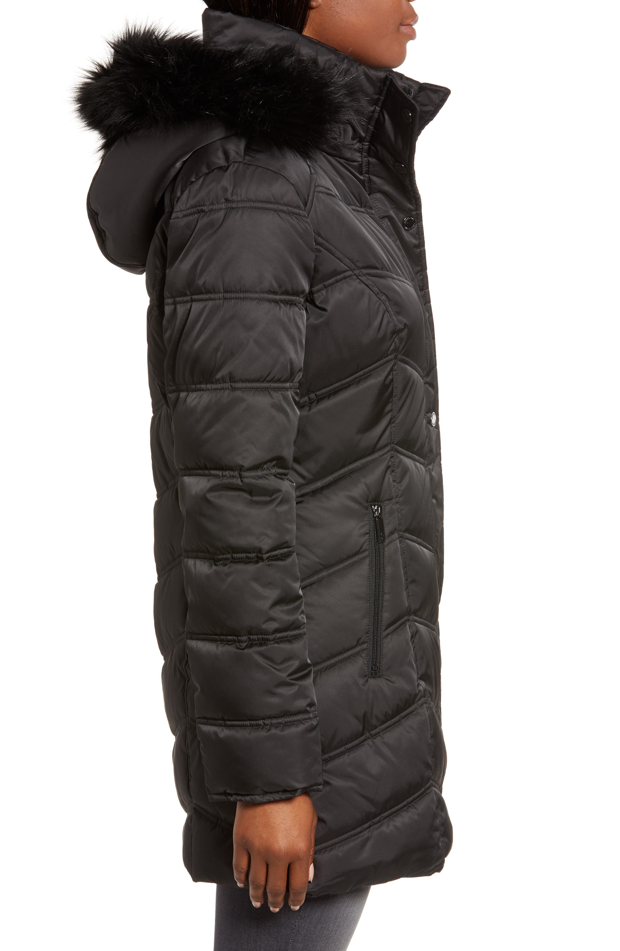 Faux Fur Trim Puffer Jacket,                             Alternate thumbnail 3, color,                             BLACK