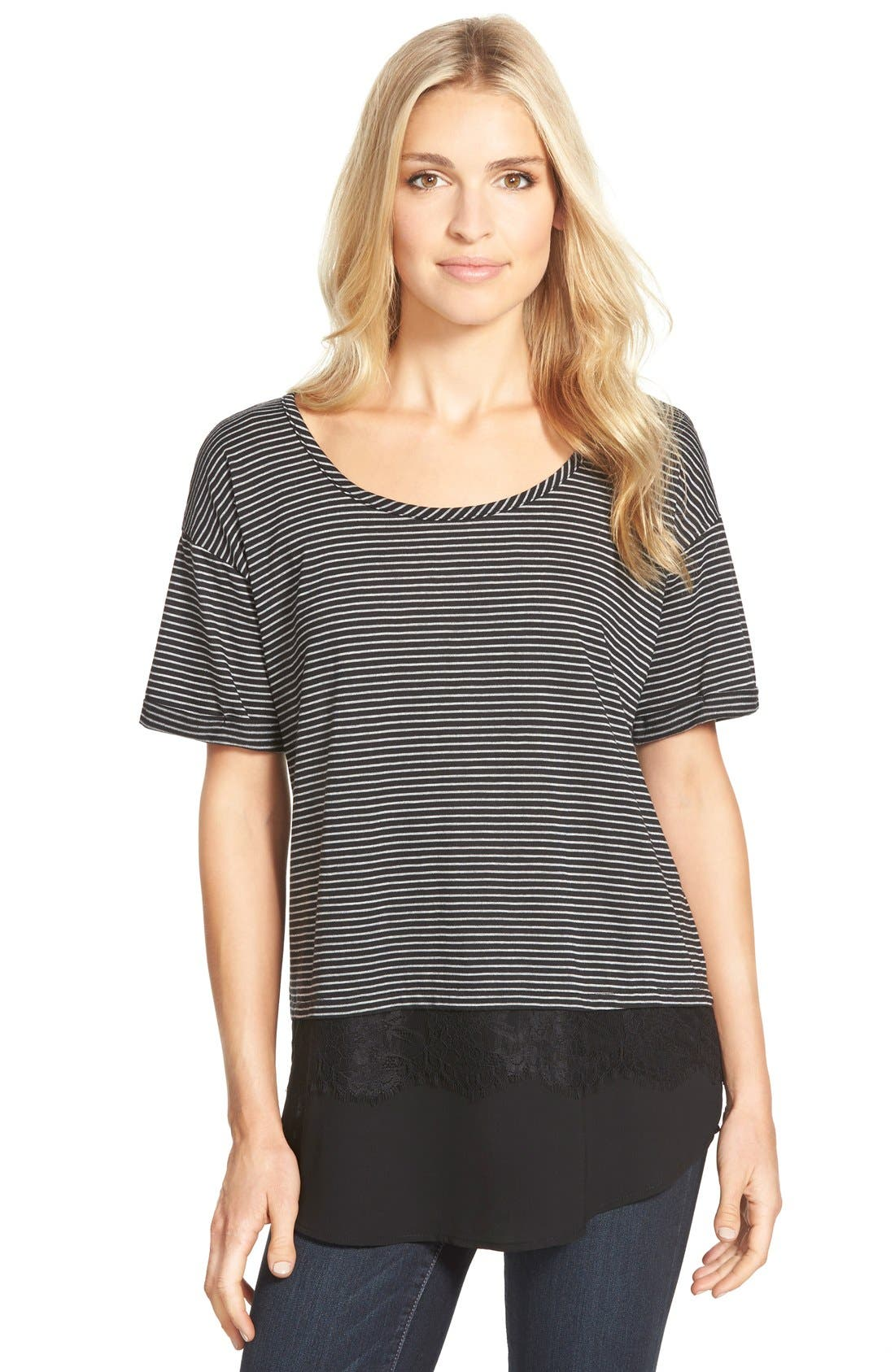Lace Trim Layered Look Tee,                             Main thumbnail 1, color,                             002