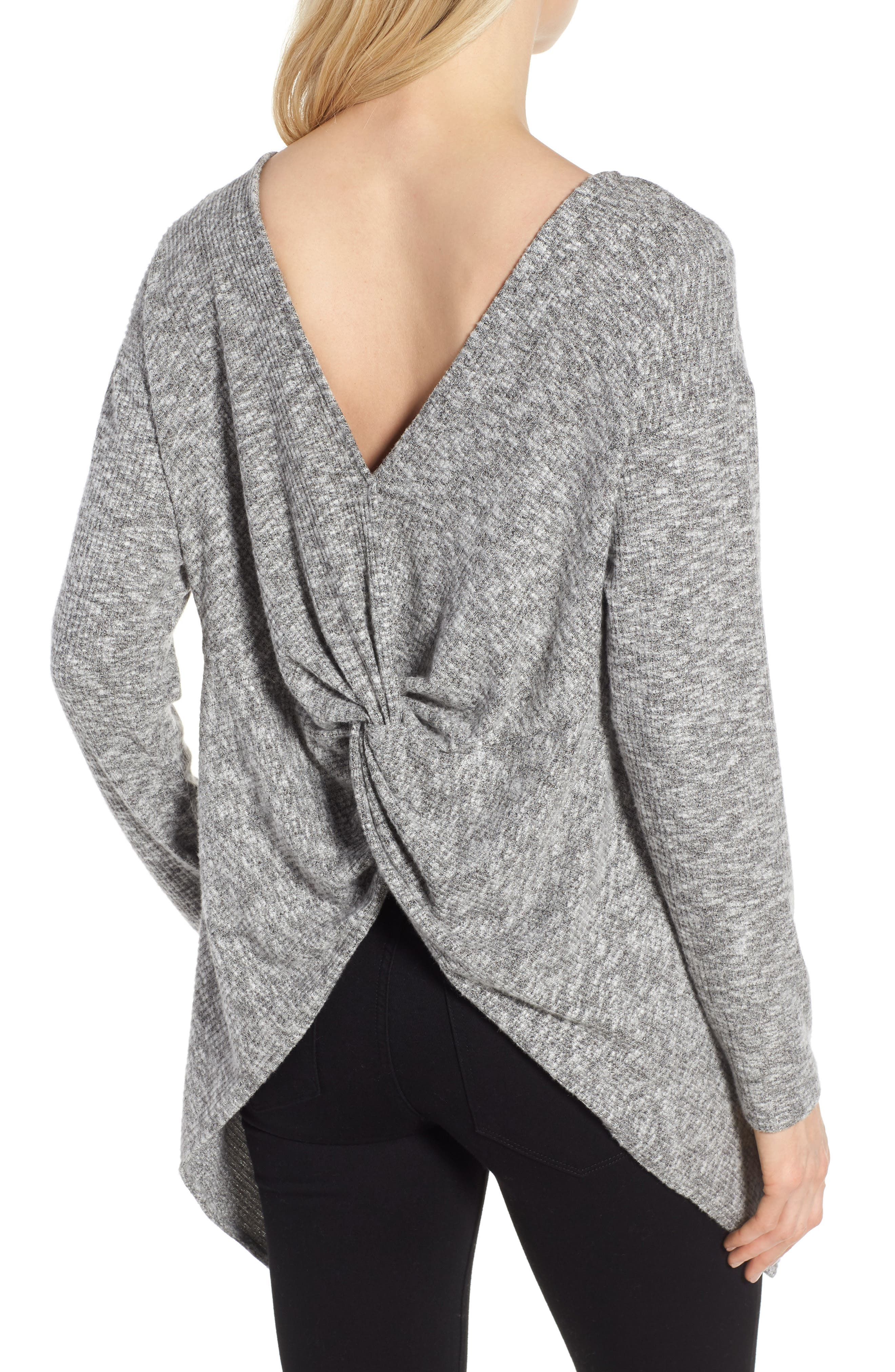 Ribbed Cozy Fleece Twist Back Top,                             Alternate thumbnail 6, color,