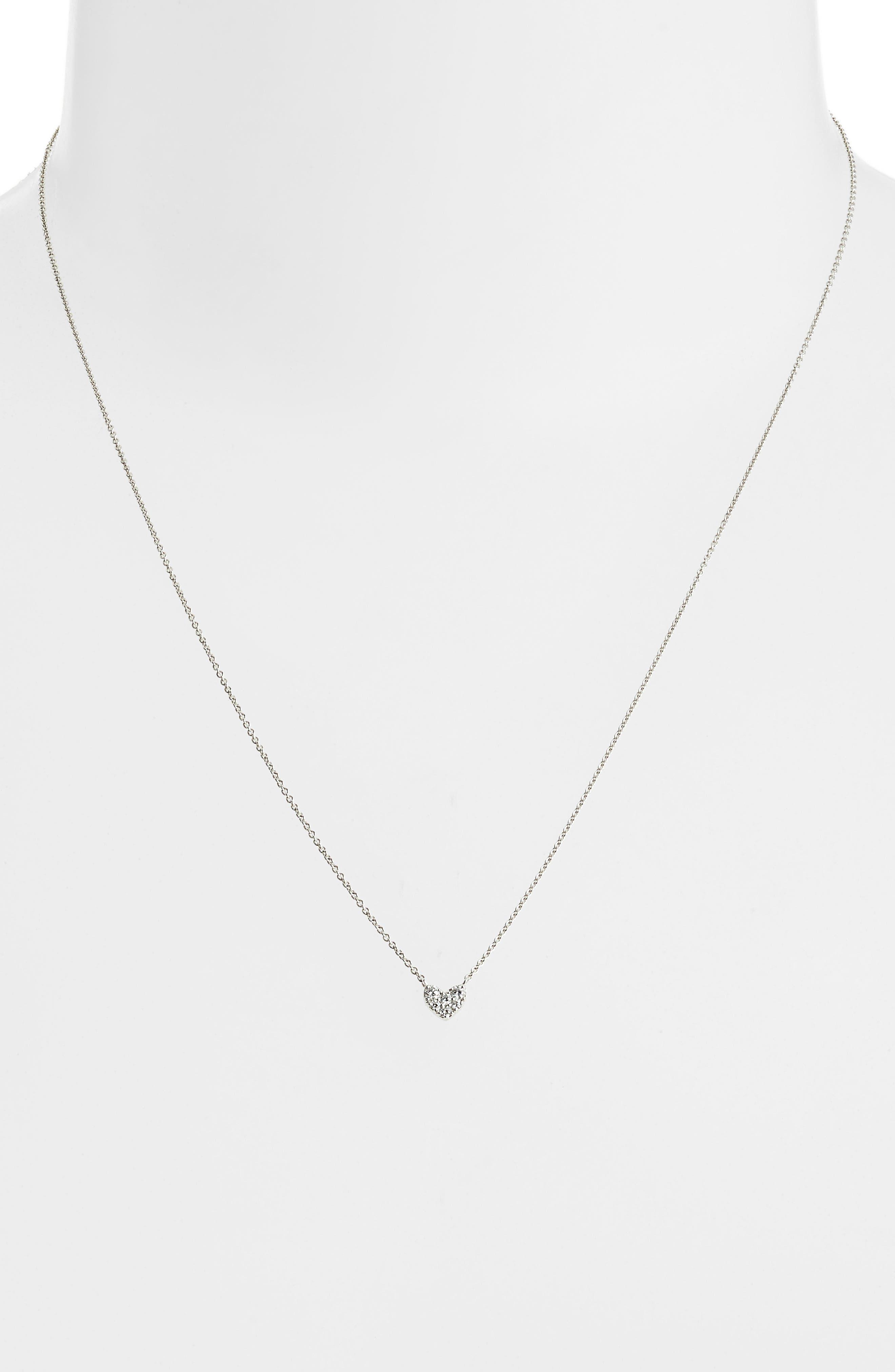Pavé Diamond Heart Pendant Necklace,                             Alternate thumbnail 2, color,                             WHITE GOLD/ DIAMOND