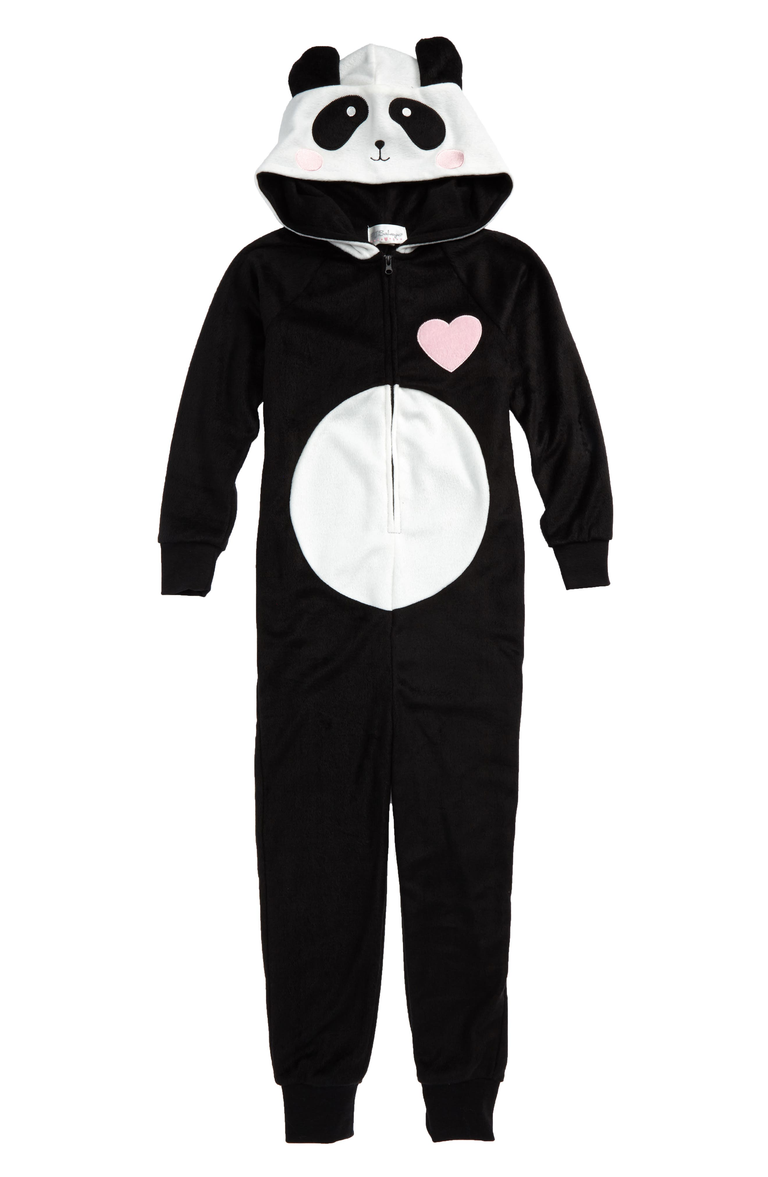 Panda Fitted One-Piece Pajamas,                             Main thumbnail 1, color,                             001