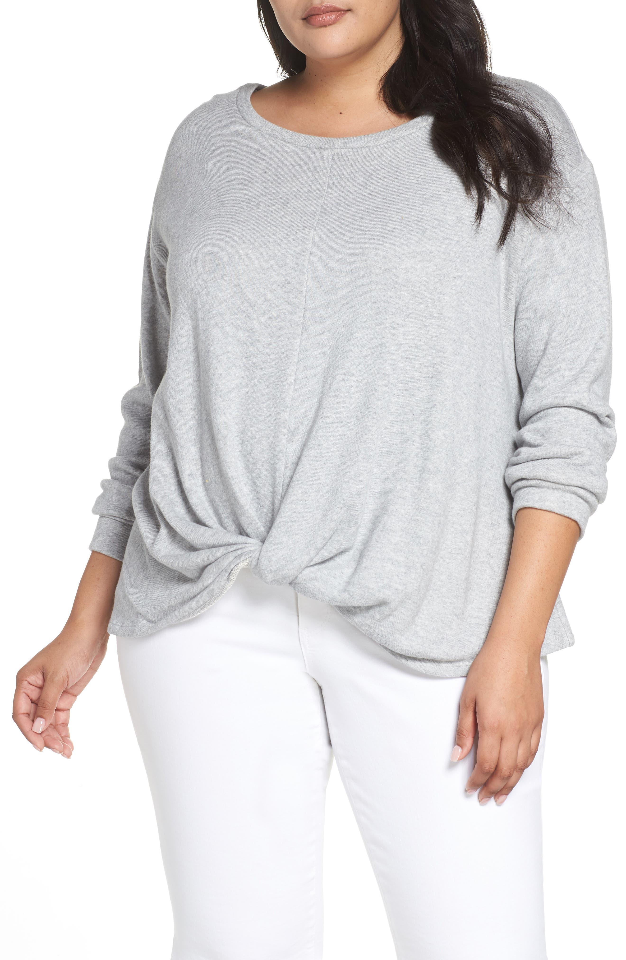 Twist Front Sweatshirt,                         Main,                         color, GREY HEATHER