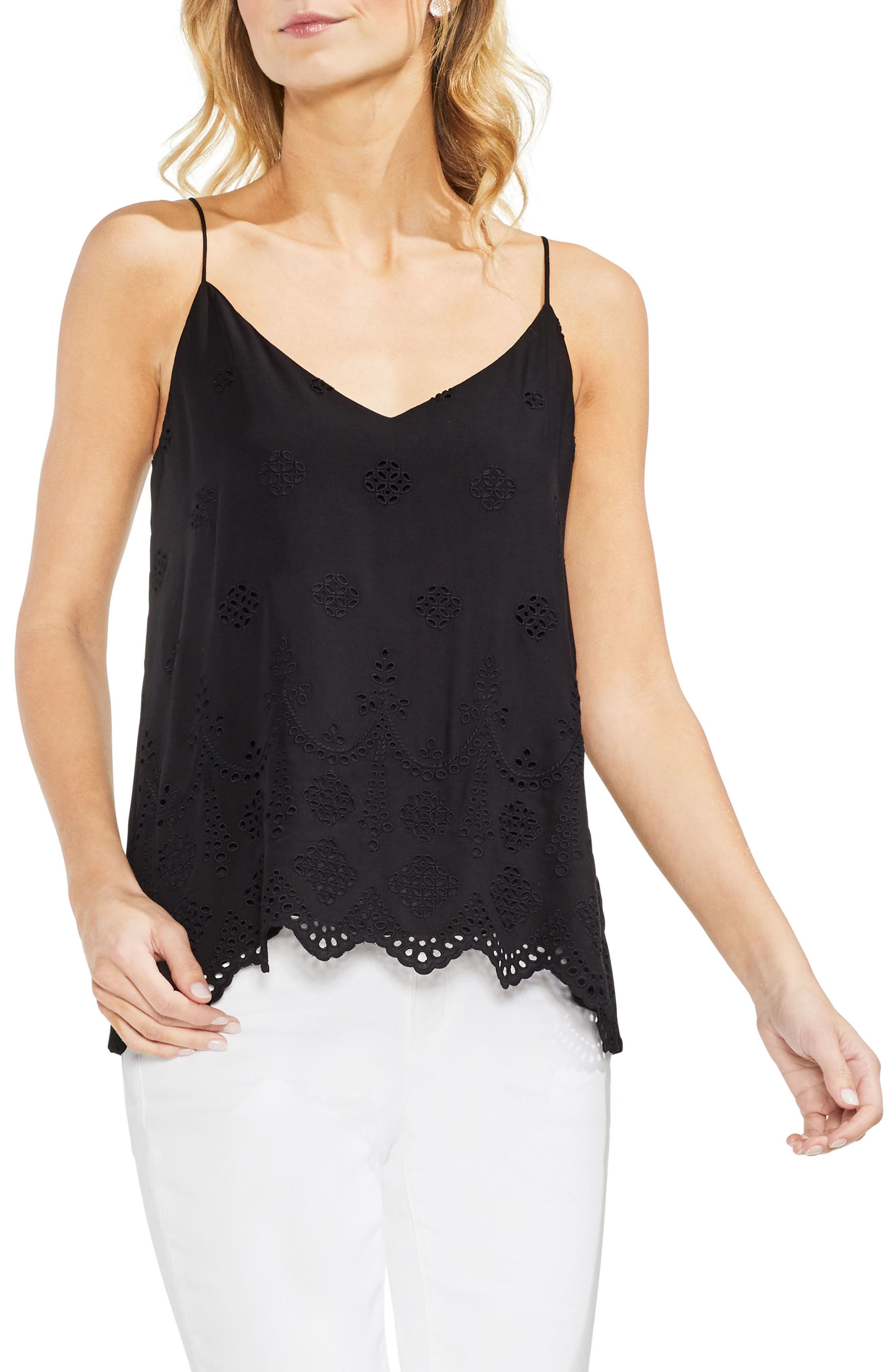 Eyelet Tie Back Cami,                         Main,                         color, 001