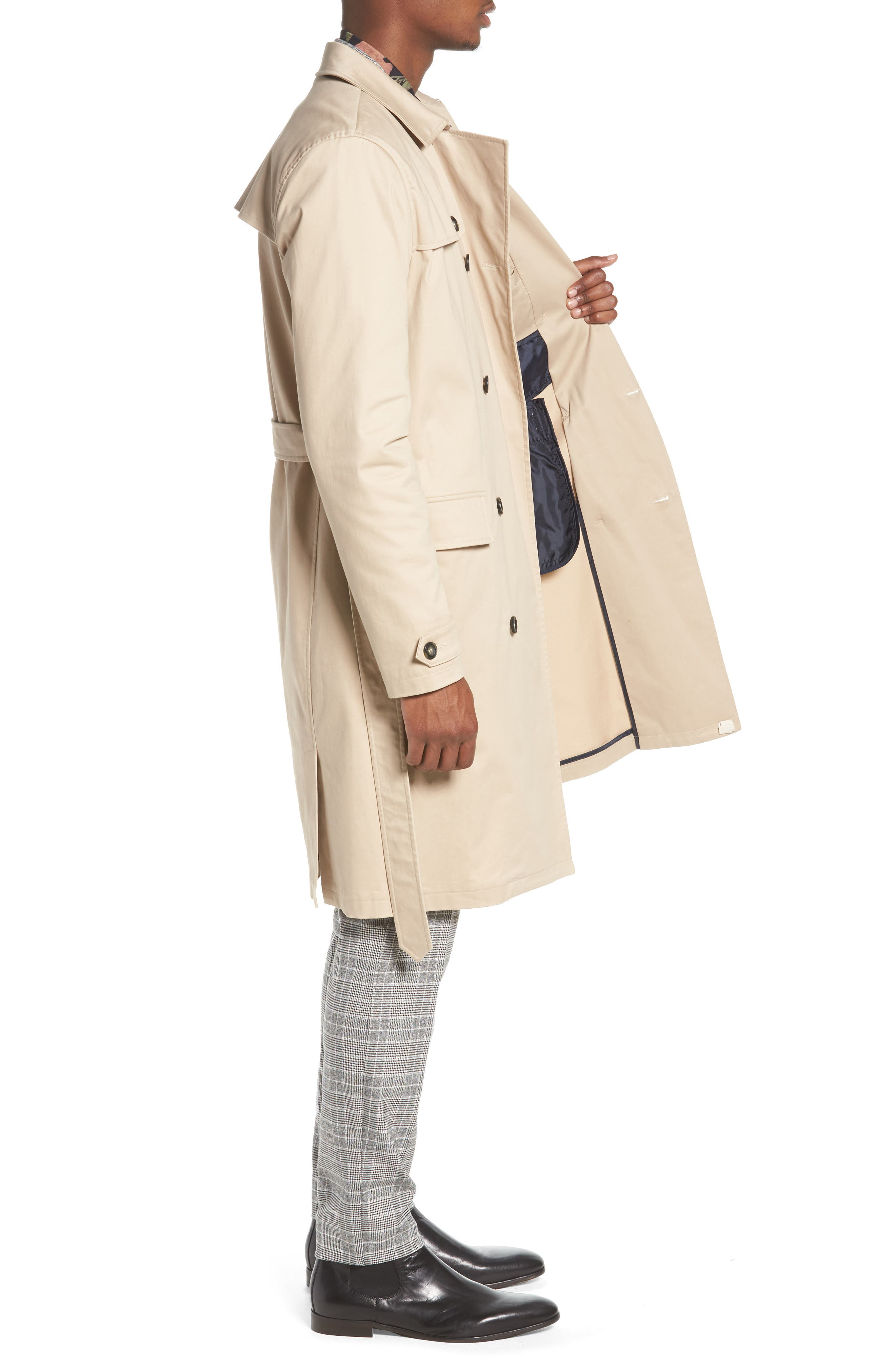 Peached Trench Coat,                             Alternate thumbnail 3, color,                             STONE