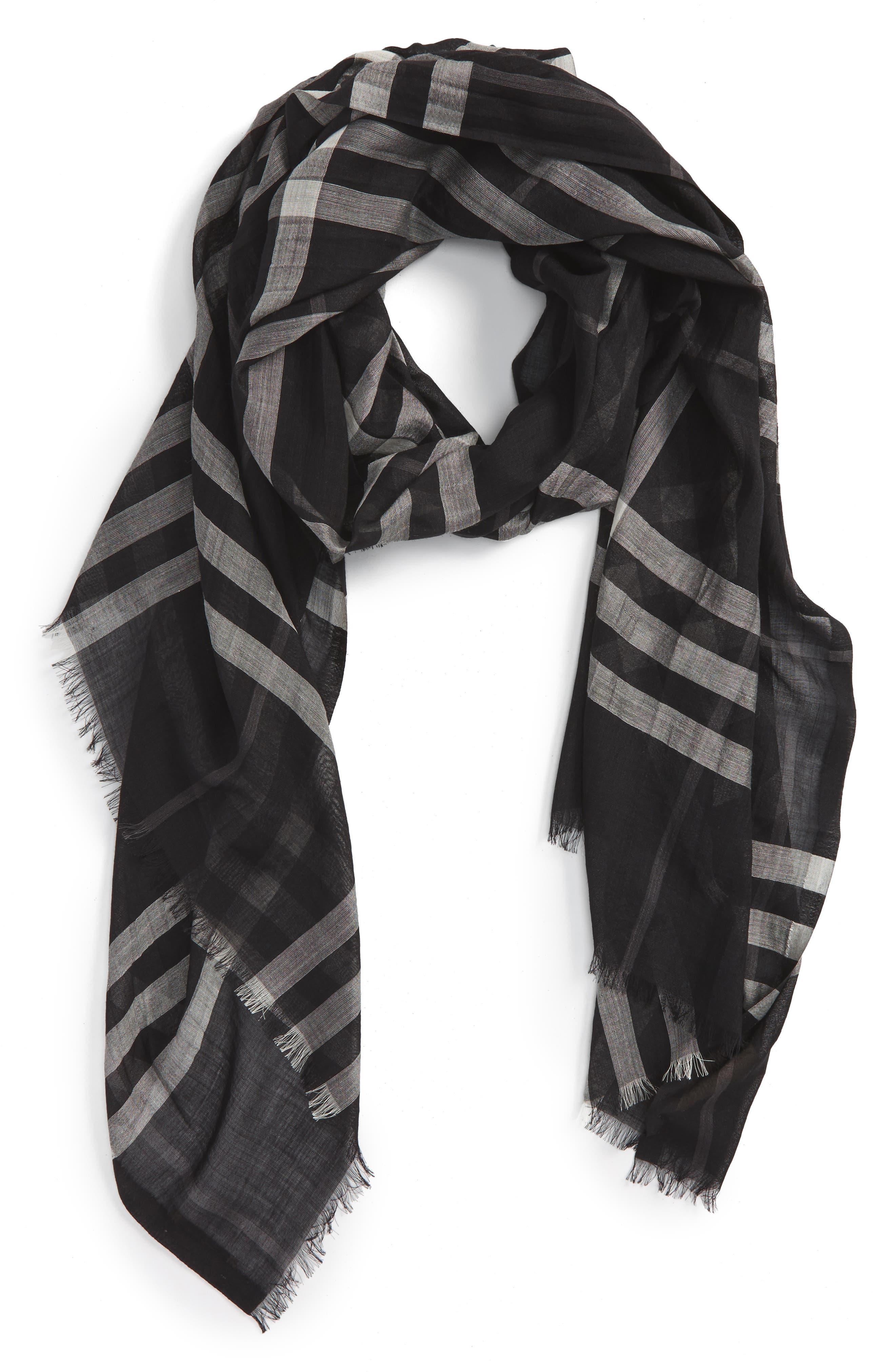 Giant Check Print Wool & Silk Scarf,                             Main thumbnail 3, color,