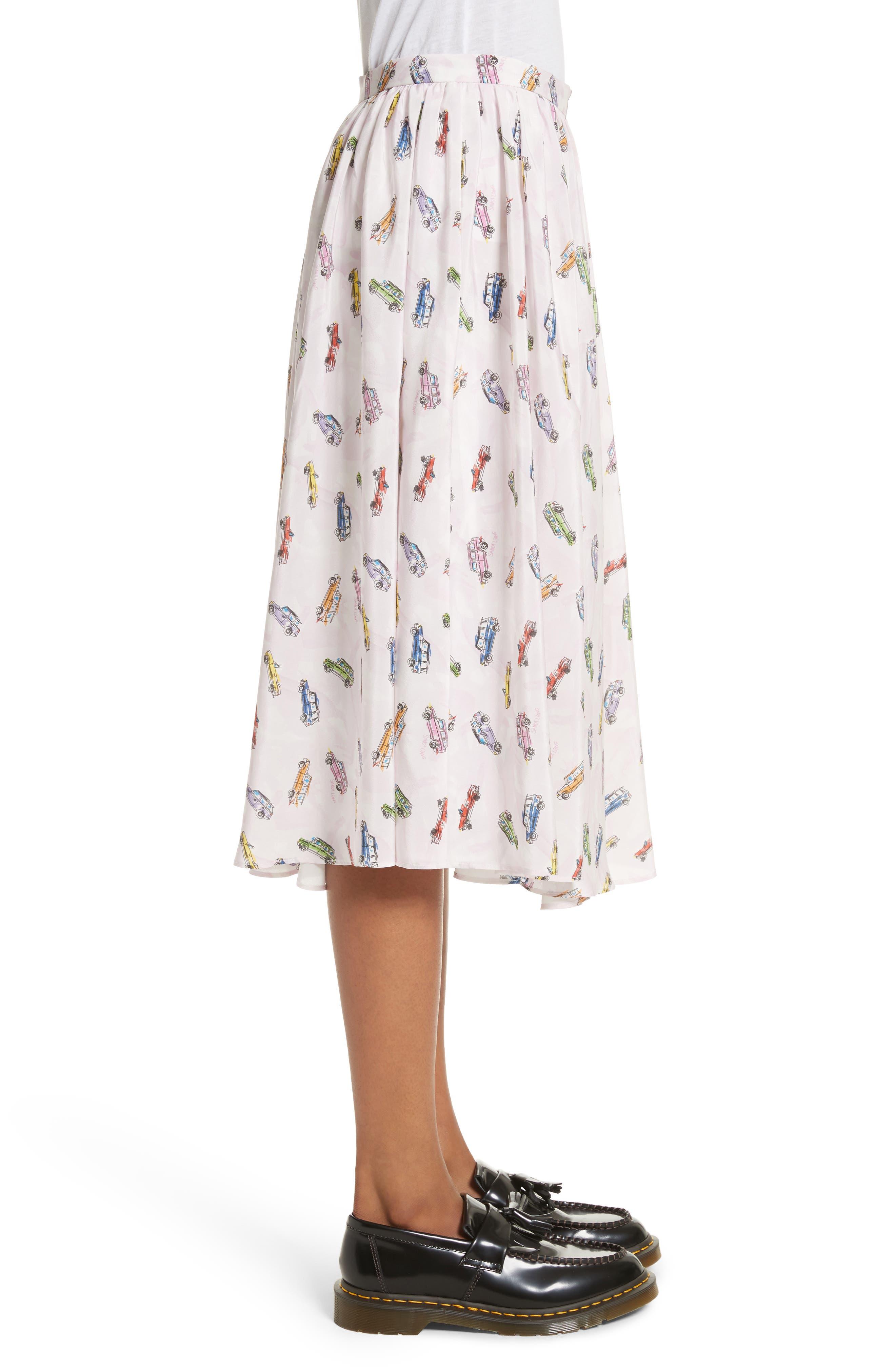 Linguini Car Print Silk Skirt,                             Alternate thumbnail 3, color,