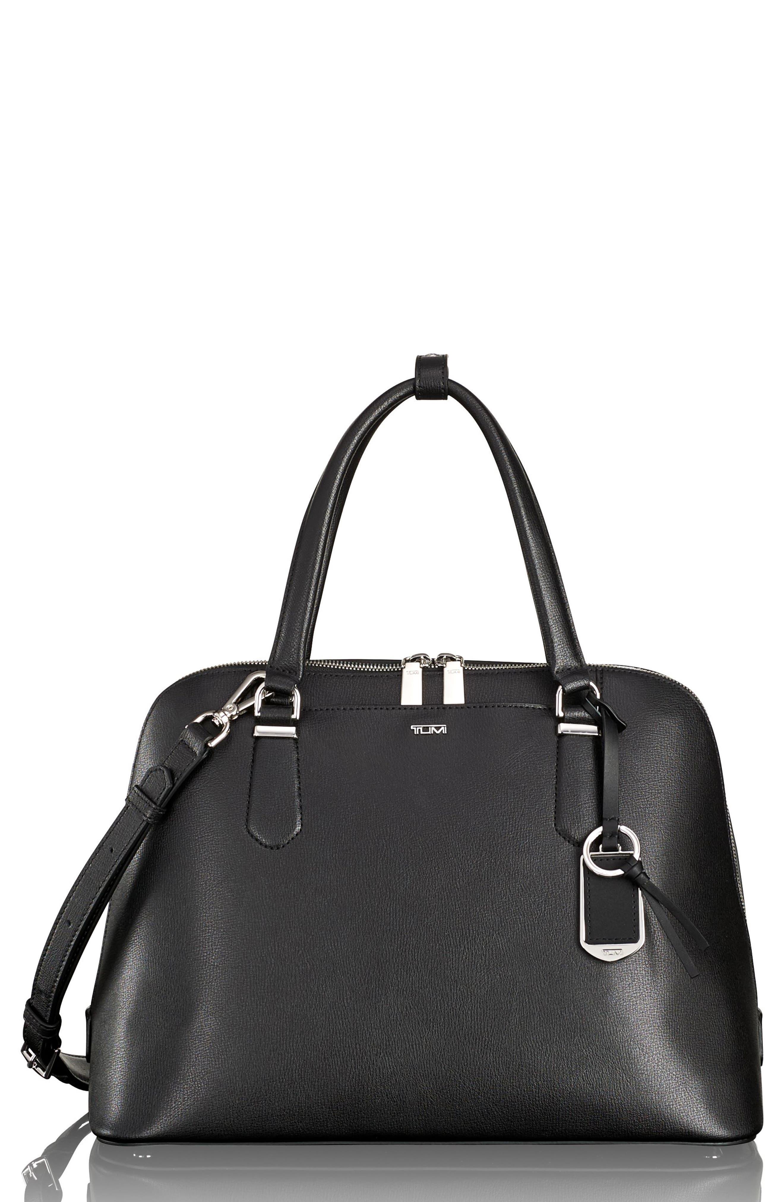 Stanton – Deonne Domed Leather Satchel,                             Main thumbnail 1, color,                             001