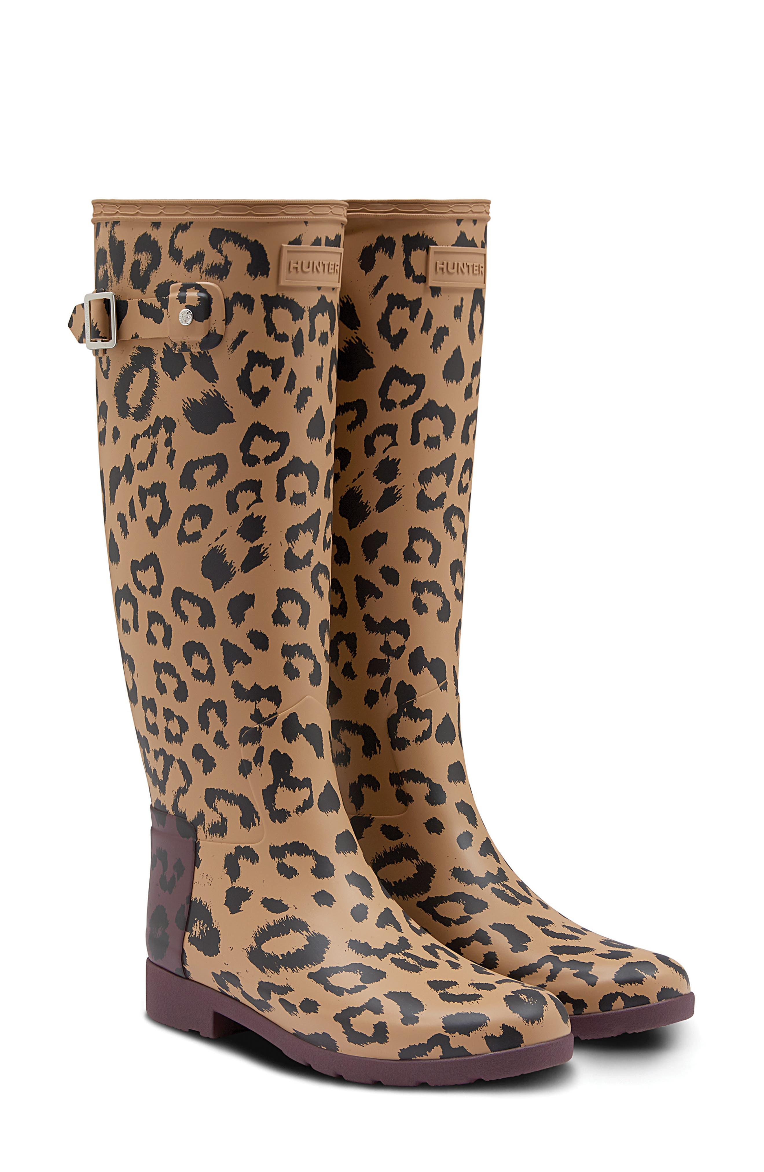 Original Leopard Print Refined Tall Waterproof Rain Boot,                             Main thumbnail 1, color,                             TAWNY/ OXBLOOD RUBBER