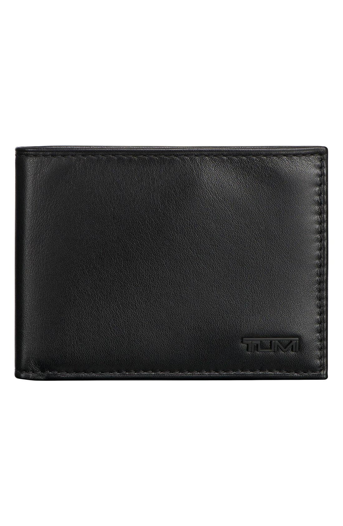 Delta Double ID Lock<sup>™</sup> Shielded Leather Wallet,                             Main thumbnail 1, color,                             BLACK