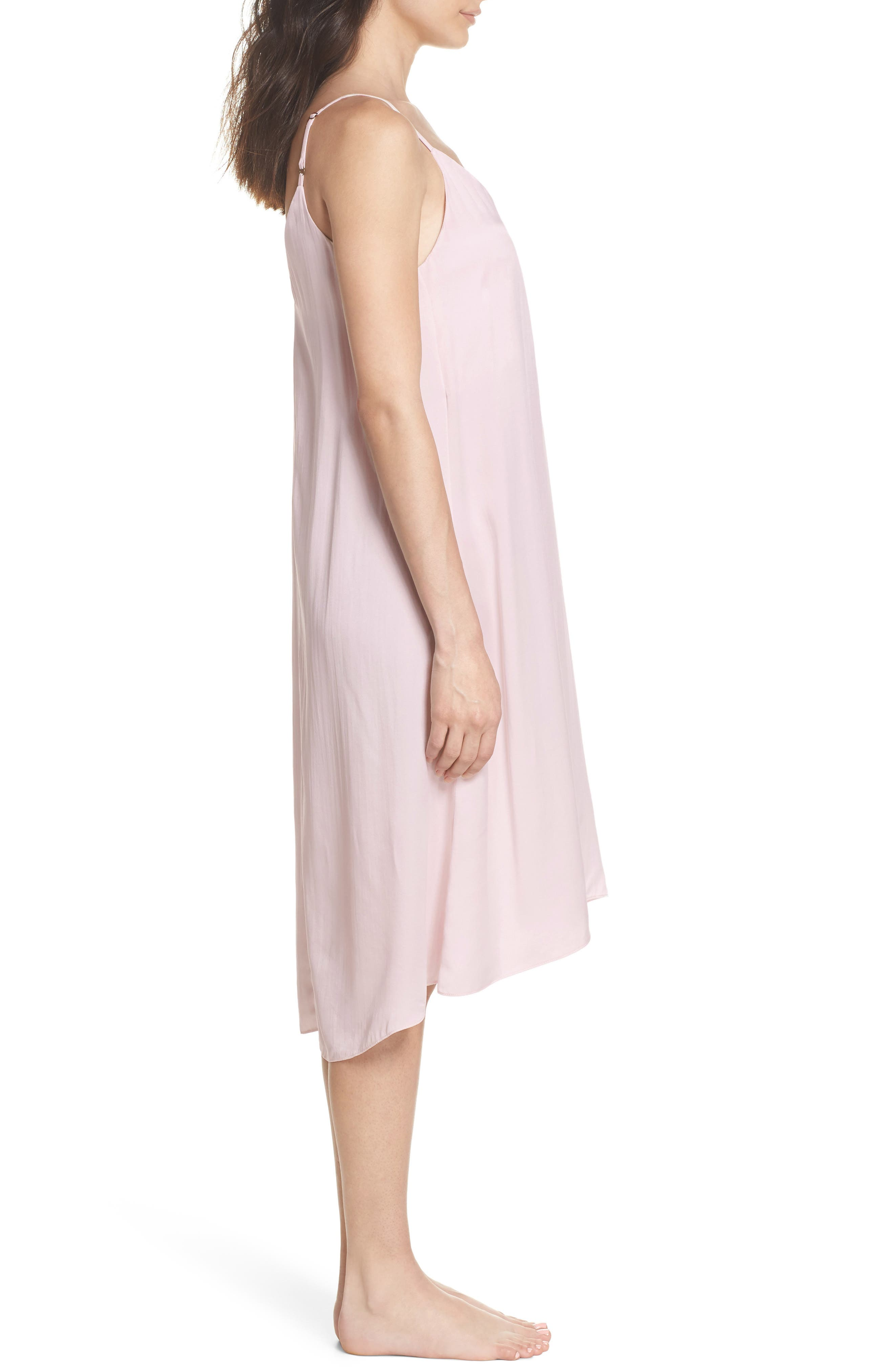 Silk Nightgown,                             Alternate thumbnail 3, color,                             ICE PINK