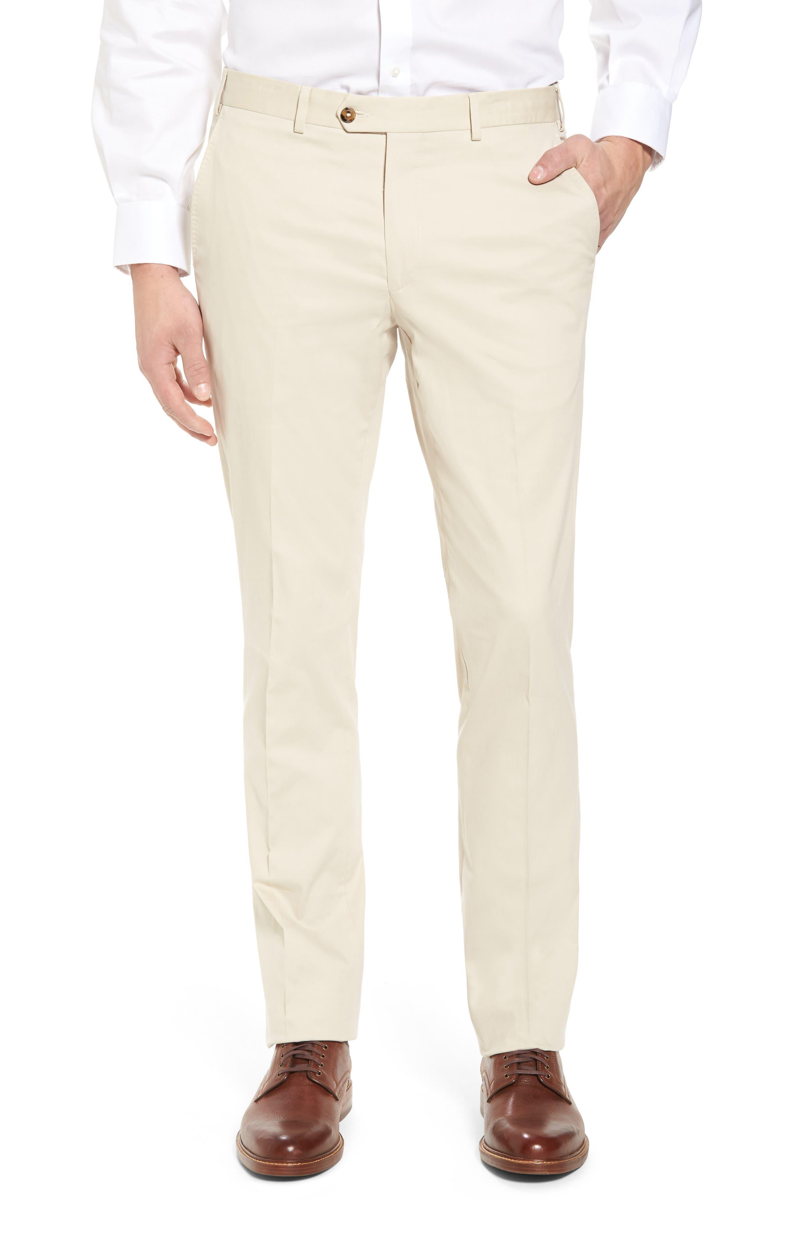 Perfect Flat Front Poplin Pants,                         Main,                         color, STONE