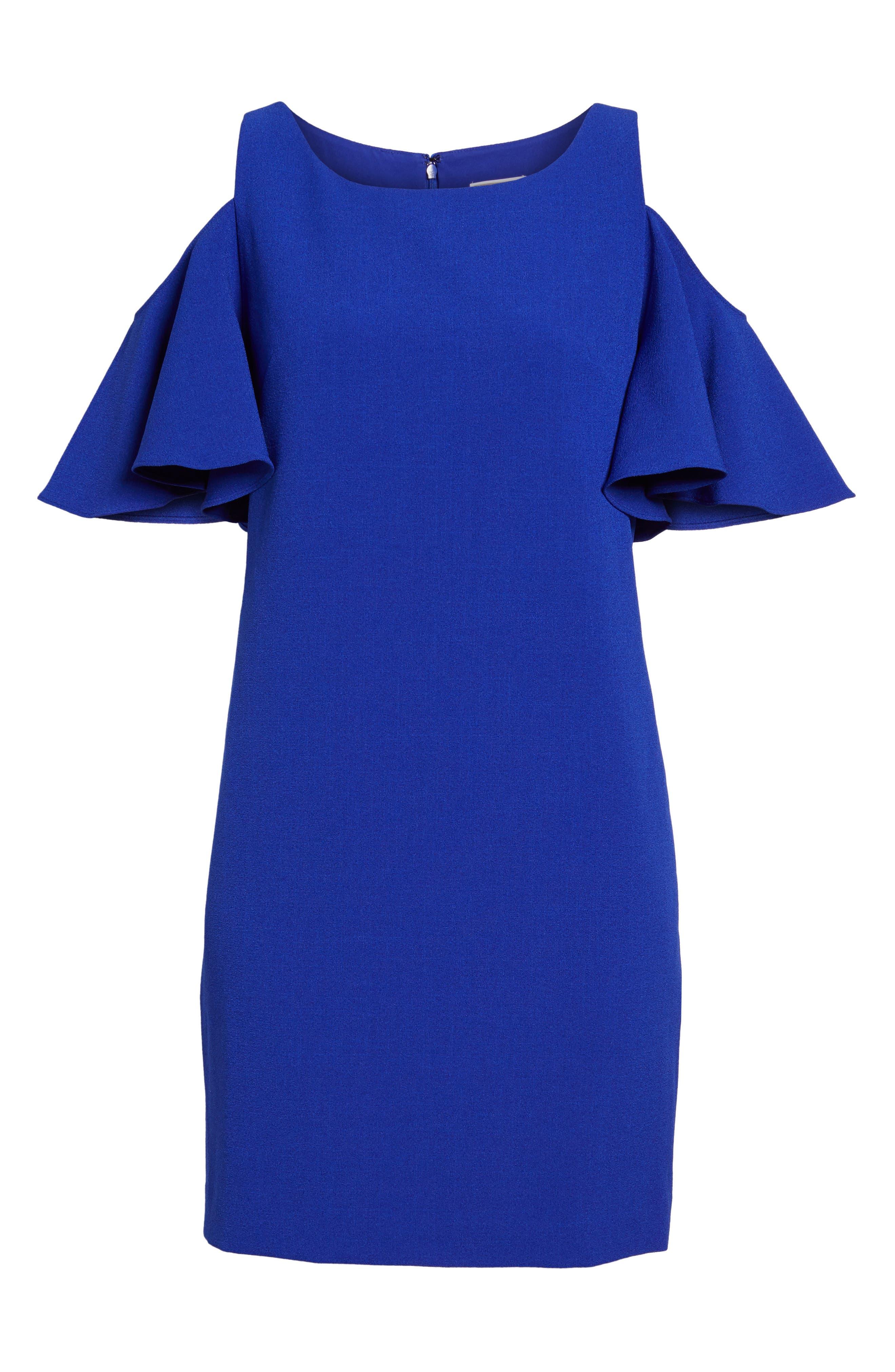 'Peek-A-Boo' Cold Shoulder Shift Dress,                             Alternate thumbnail 4, color,