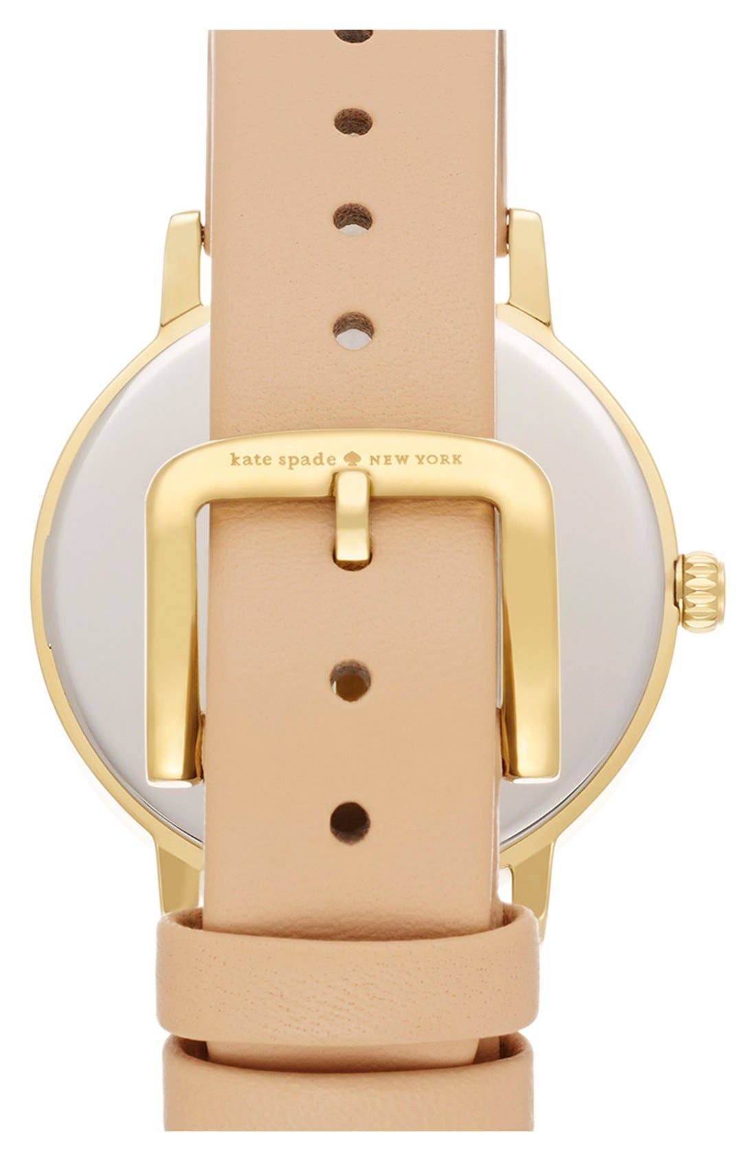 'metro' flamingo dial leather strap watch, 34mm,                             Alternate thumbnail 2, color,                             200