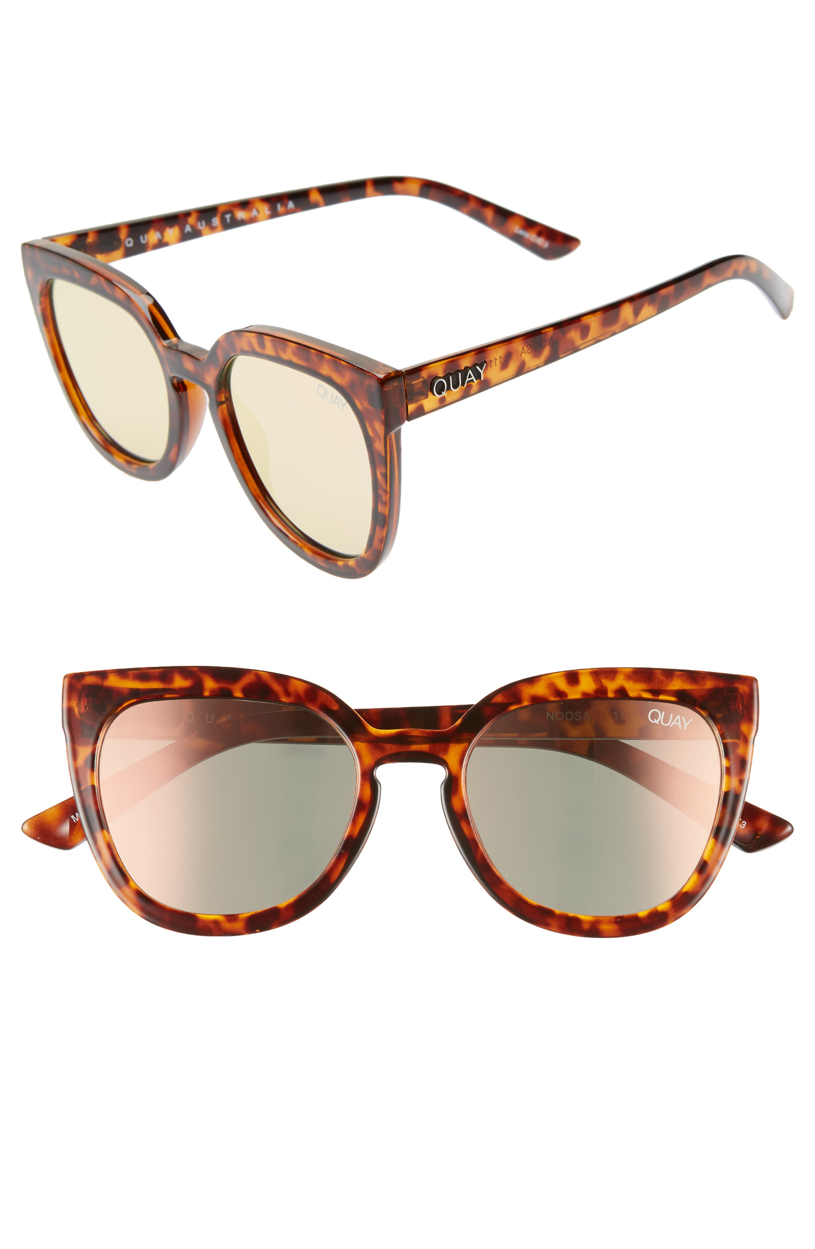 Quay Australia Noosa 50Mm Square Sunglasses - Tort / Rose Mirror
