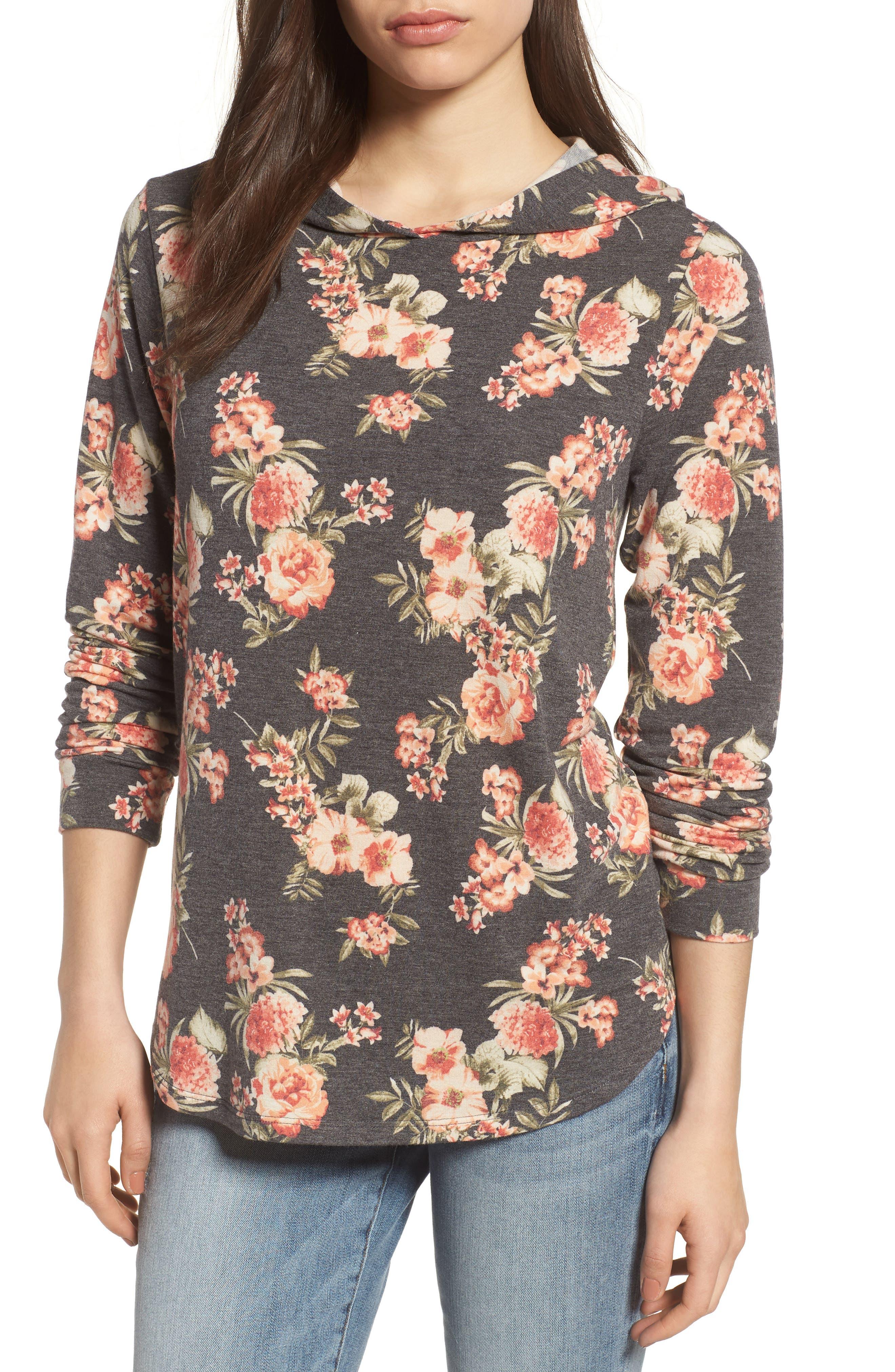 PLEIONE Printed Hoodie Sweatshirt, Main, color, 010