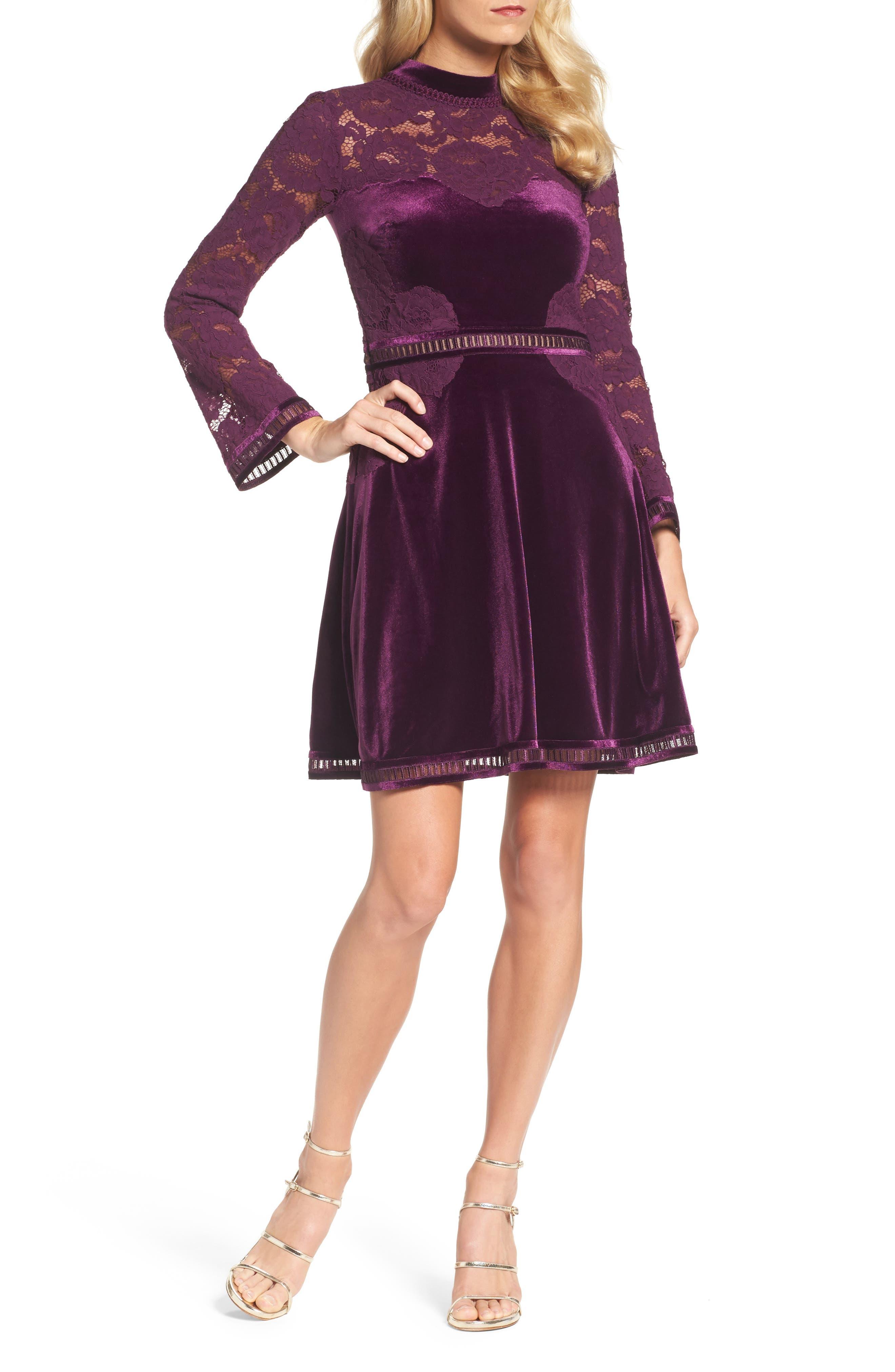 High Neck Lace & Velvet Cocktail Dress,                             Main thumbnail 1, color,                             572