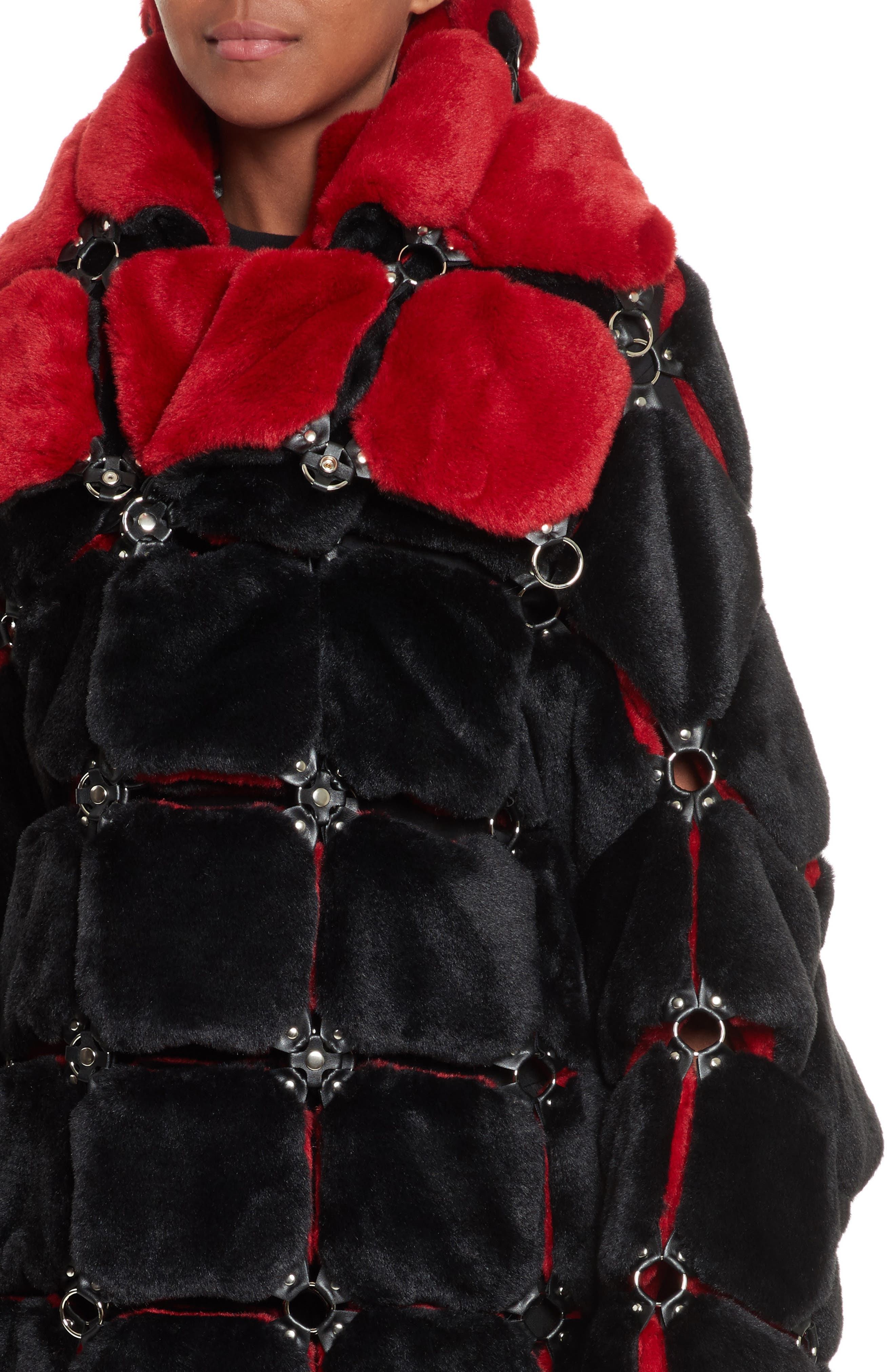 Faux Fur Coat with Chain Mail Detail,                             Alternate thumbnail 4, color,                             005