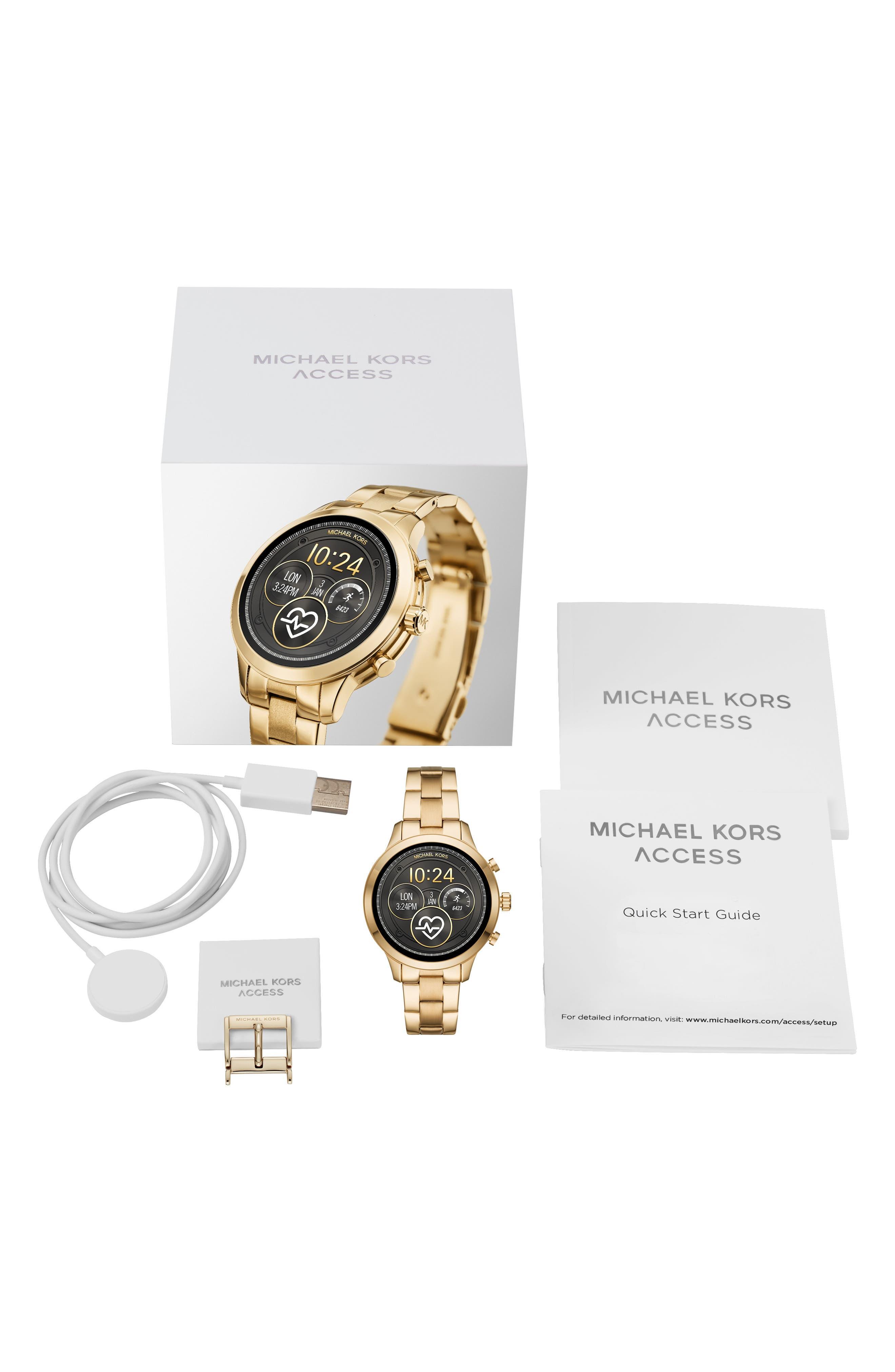 MICHAEL KORS,                             MICHAEL Michael Kors Access Runway Smart Bracelet Watch, 41mm,                             Alternate thumbnail 4, color,                             GOLD