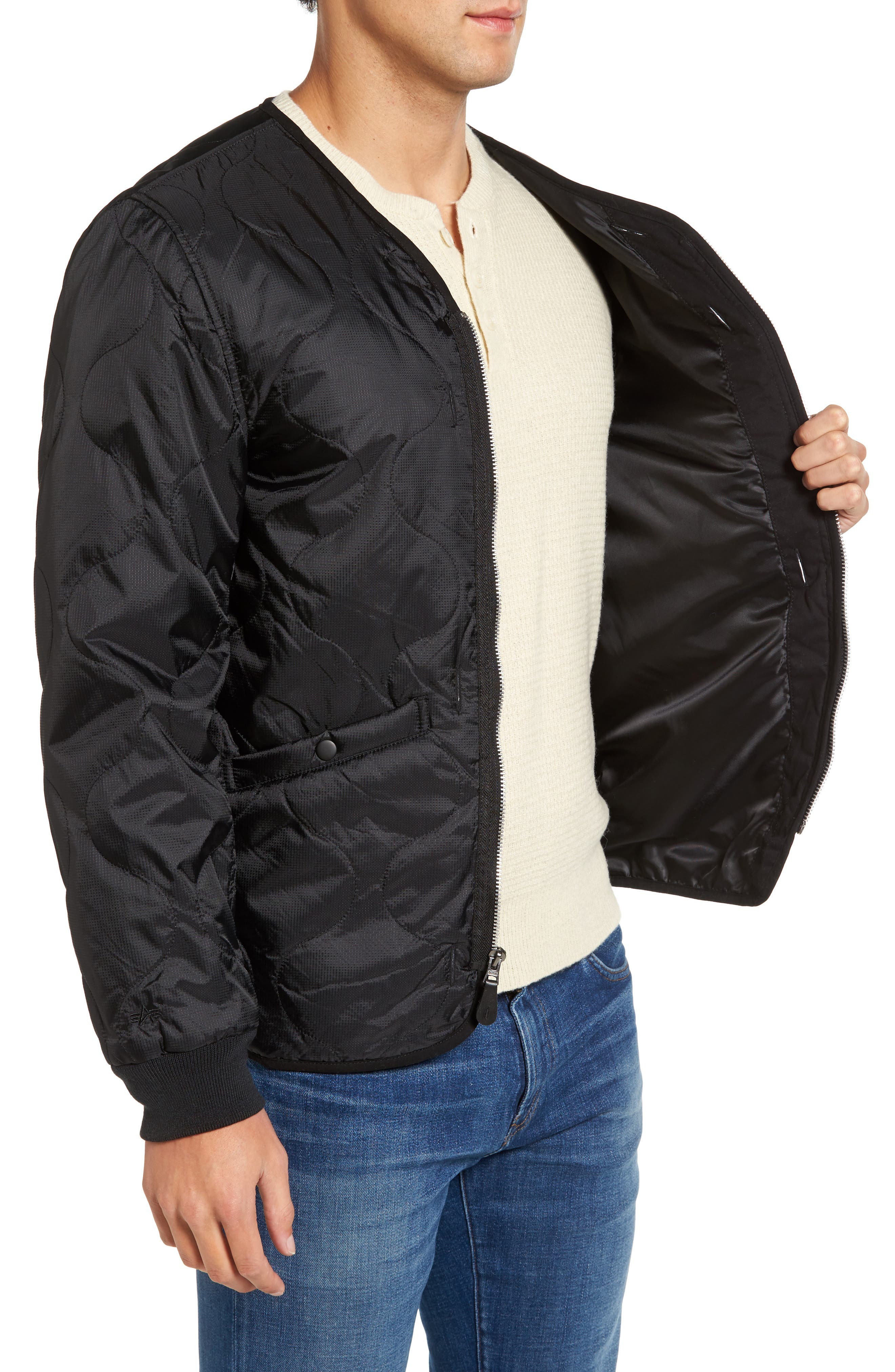 Pioneer Quilted Bomber Jacket,                             Alternate thumbnail 3, color,                             001