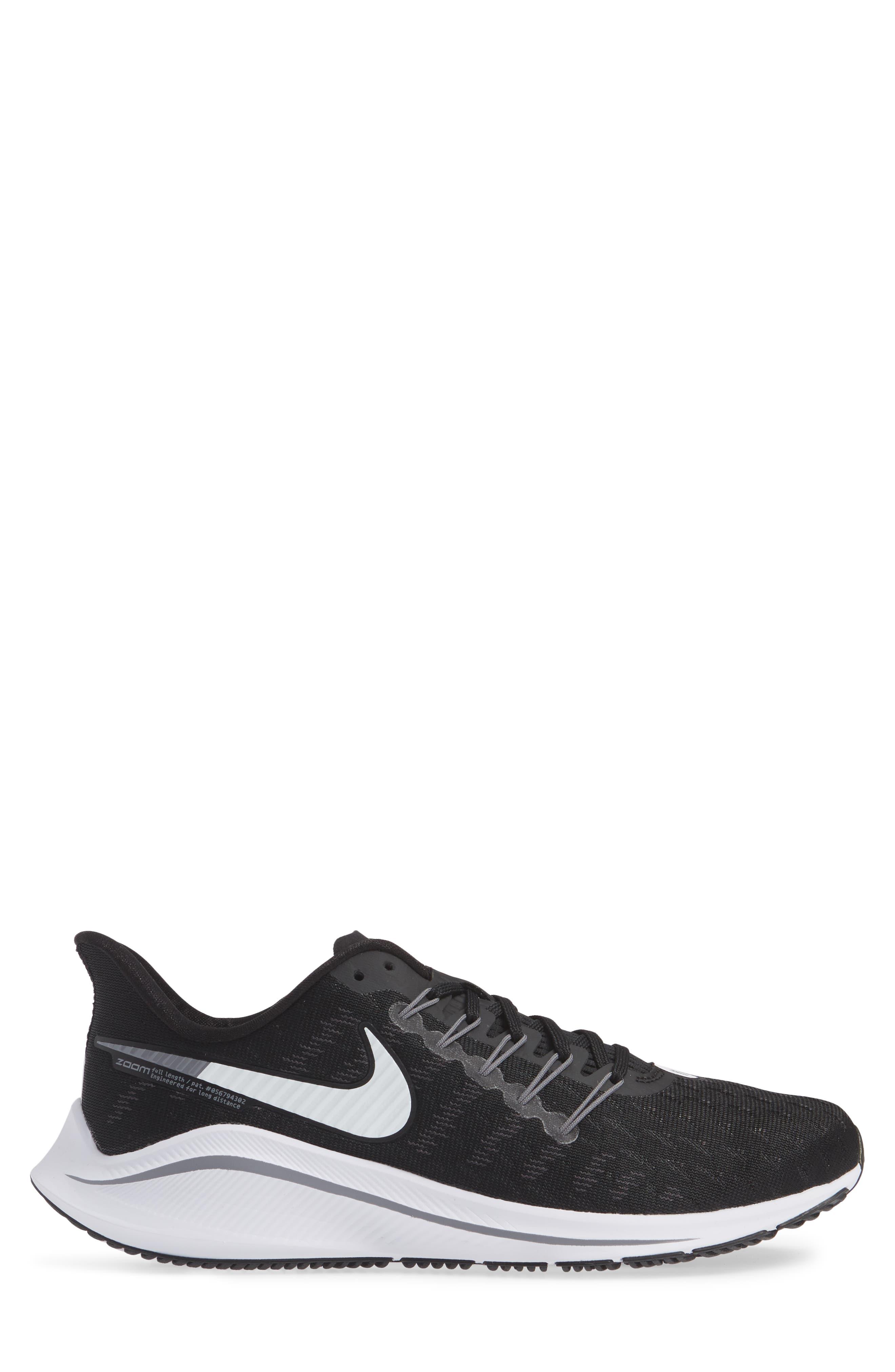Air Zoom Vomero 14 Running Shoe,                             Alternate thumbnail 3, color,                             BLACK/ WHITE/ THUNDER GREY