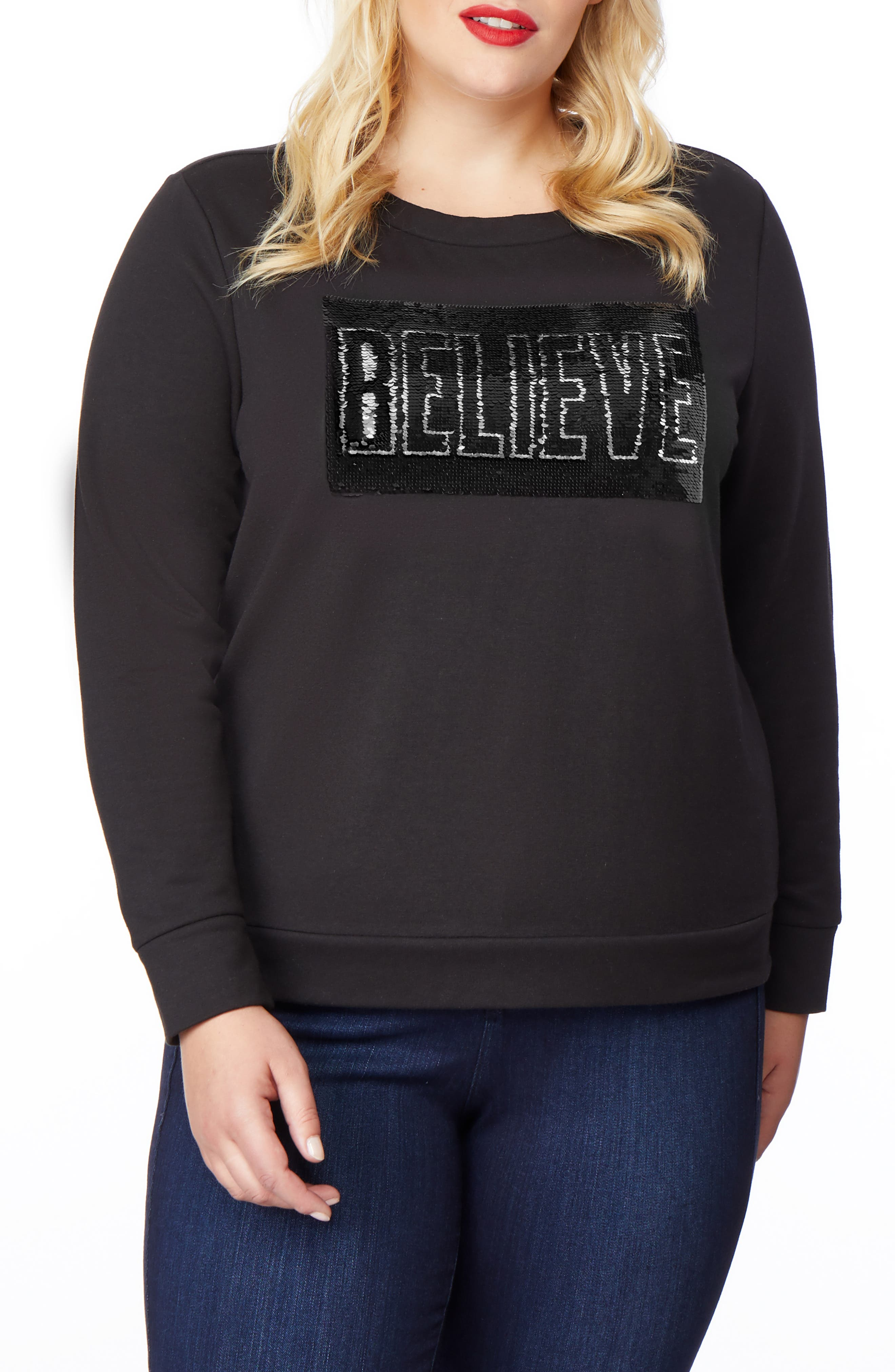 Embellished Sweatshirt,                             Alternate thumbnail 4, color,                             BELIEVE/ ACHIEVE