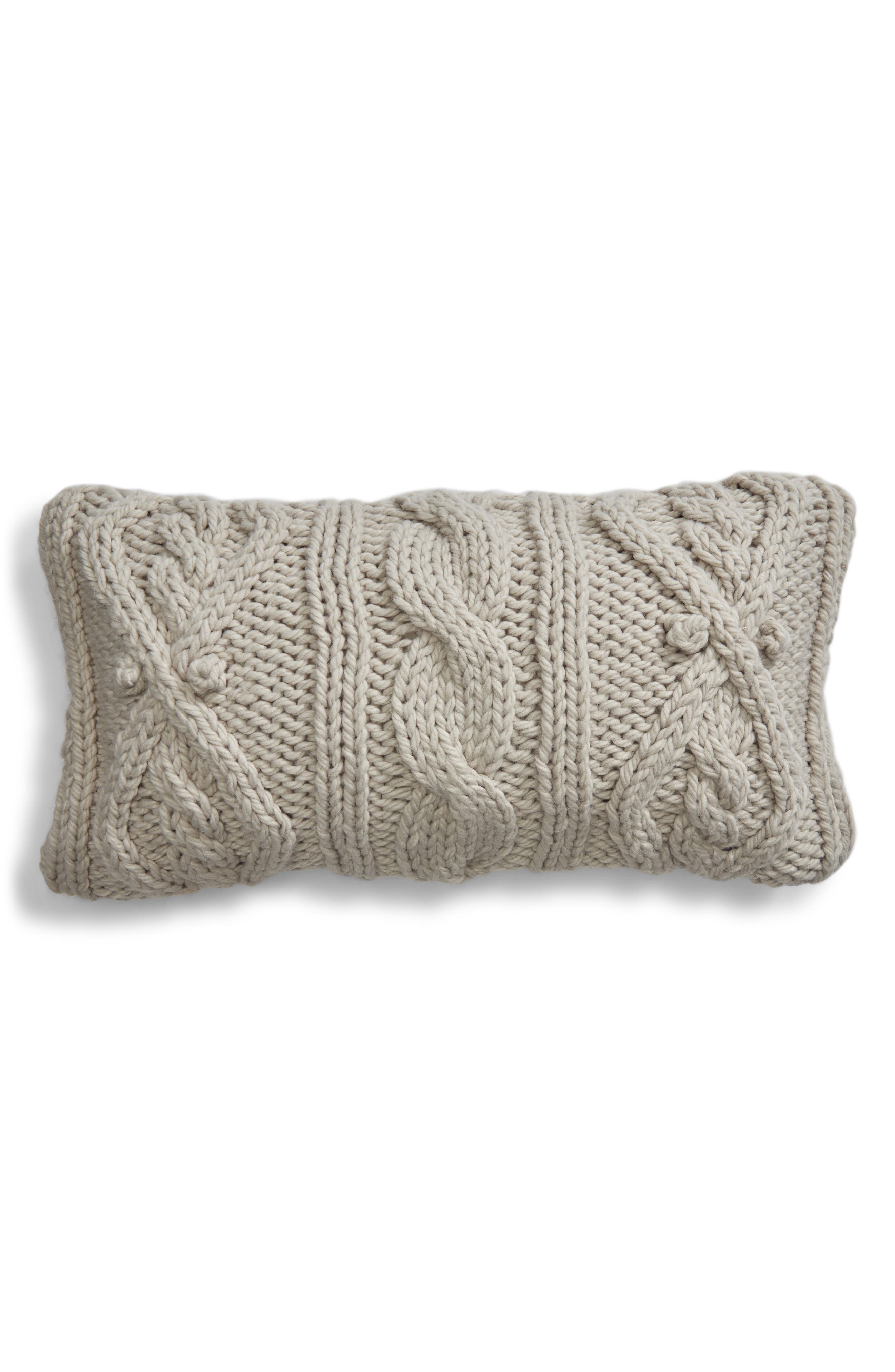 Chunky Cable Knit Accent Pillow,                         Main,                         color, GREY VAPOR